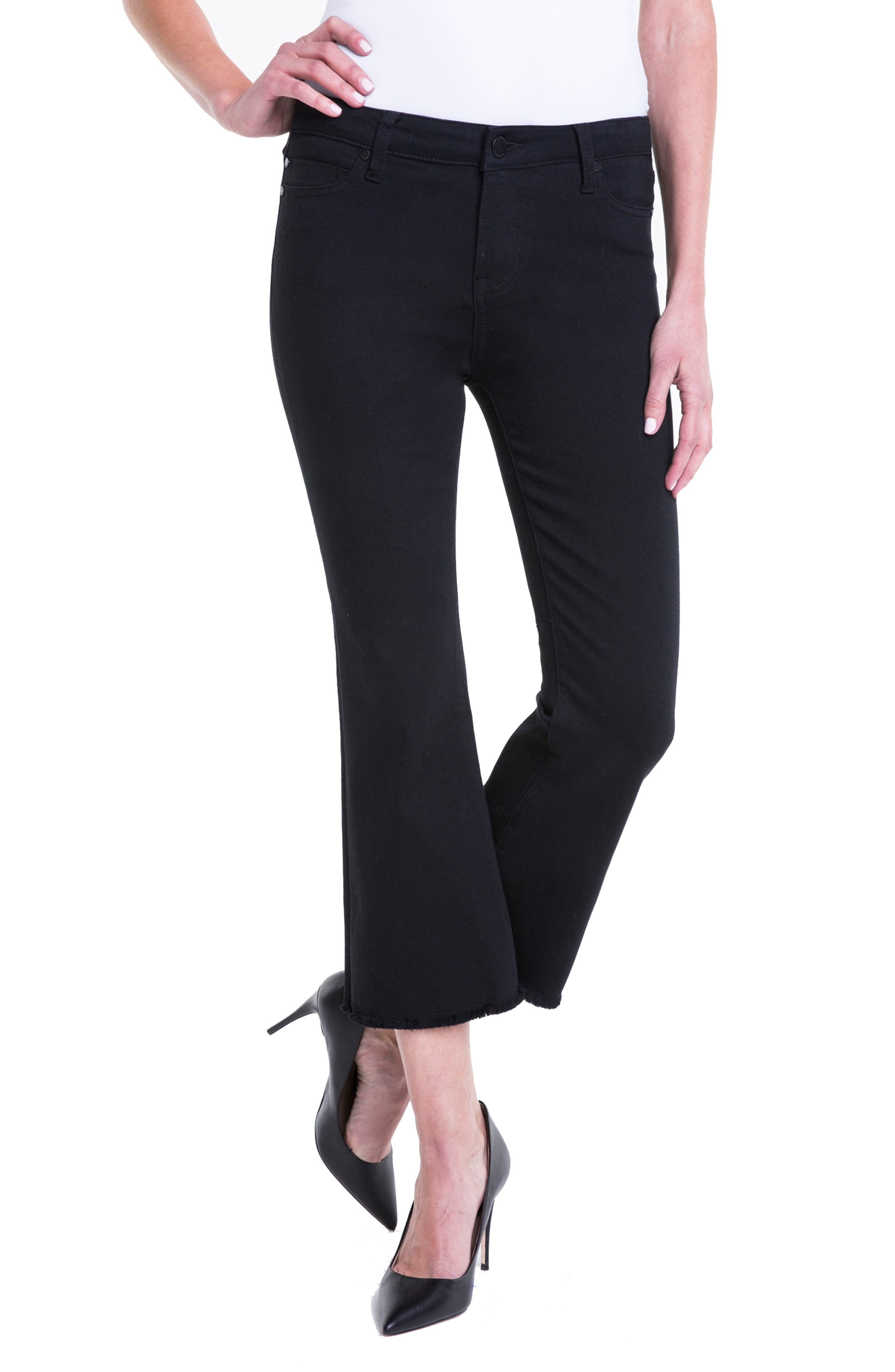 Hannah Crop Flare Jeans,                             Alternate thumbnail 4, color,                             Black Rinse