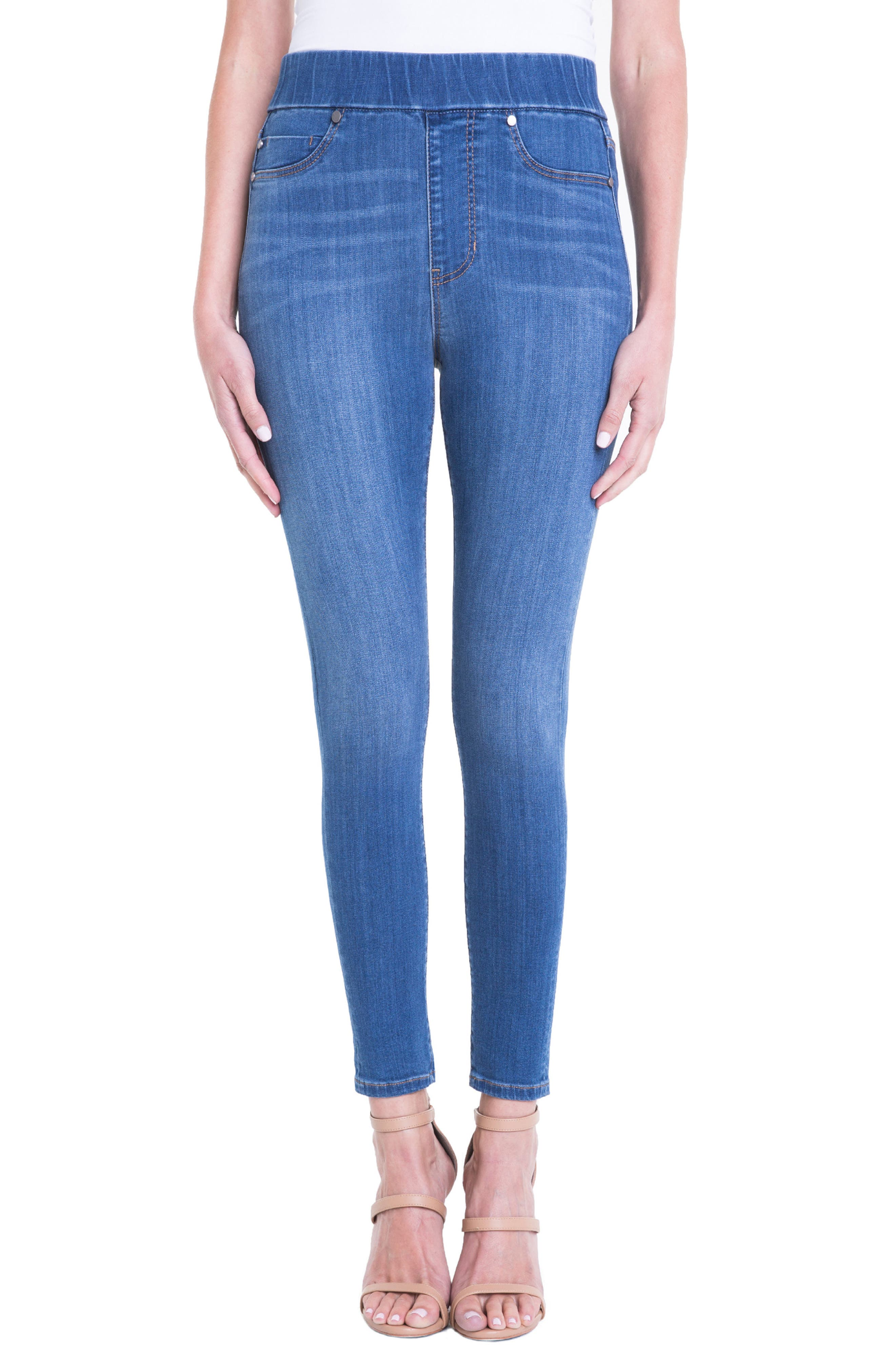 Farrah Pull-On Skinny Ankle Jeans,                         Main,                         color, Coronado Mid