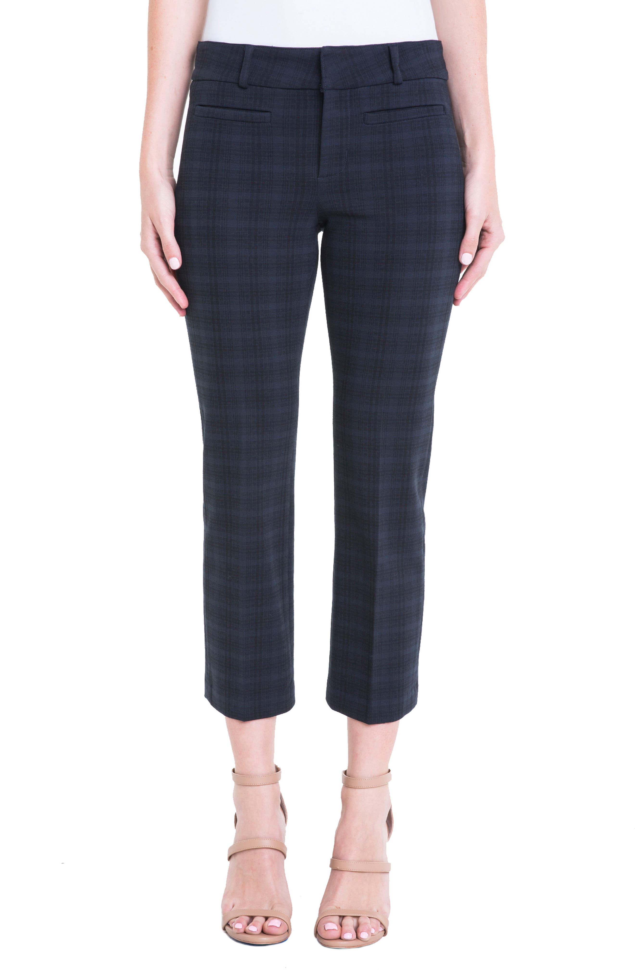 Main Image - Liverpool Jeans Company Vera Plaid Crop Trousers