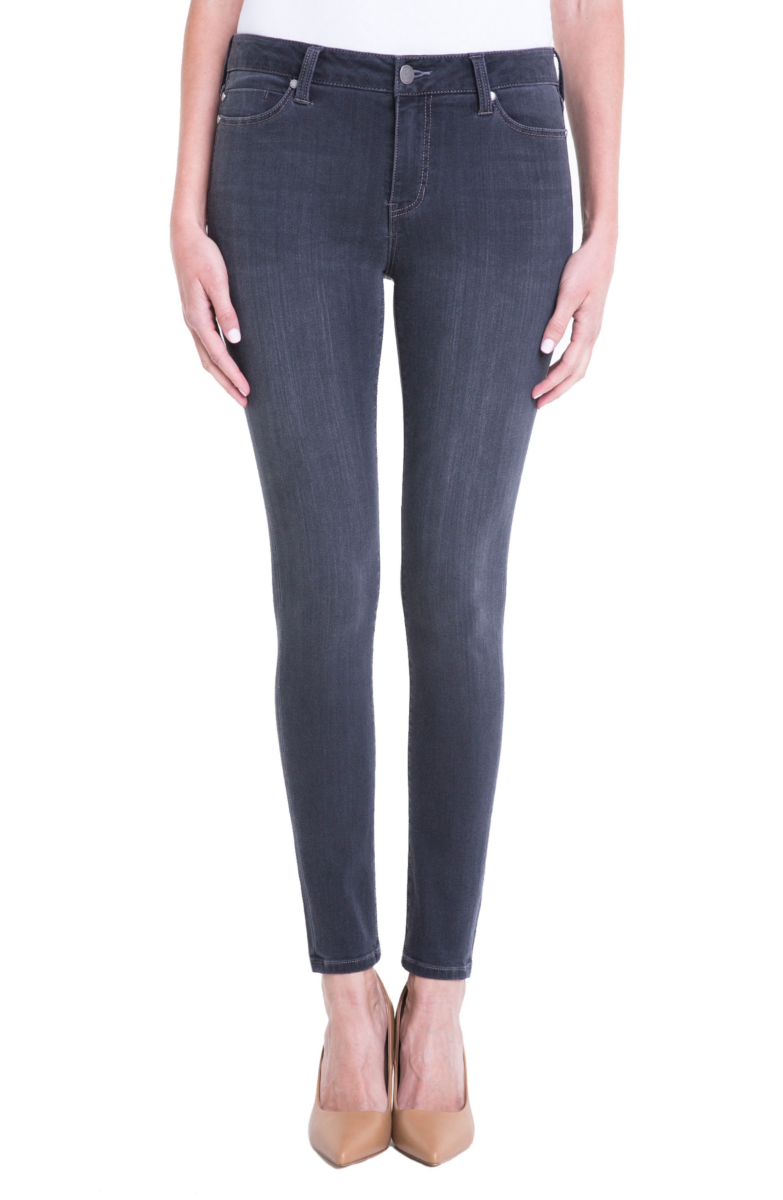 Alternate Image 1 Selected - Liverpool Jeans Company Abby Stretch Skinny Jeans (Meteorite)