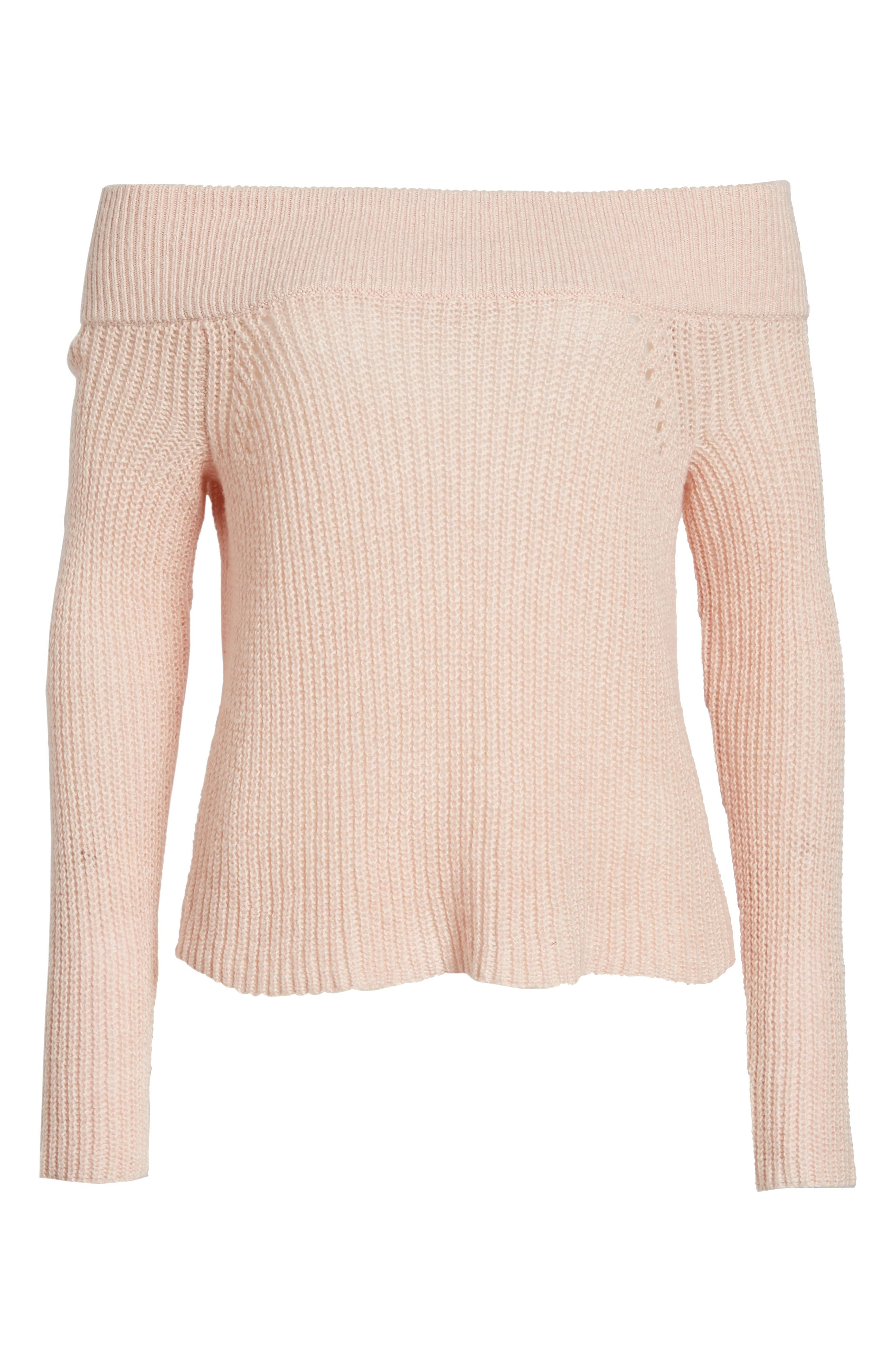 Lofty Off the Shoulder Pullover,                             Alternate thumbnail 6, color,                             Pink Smoke