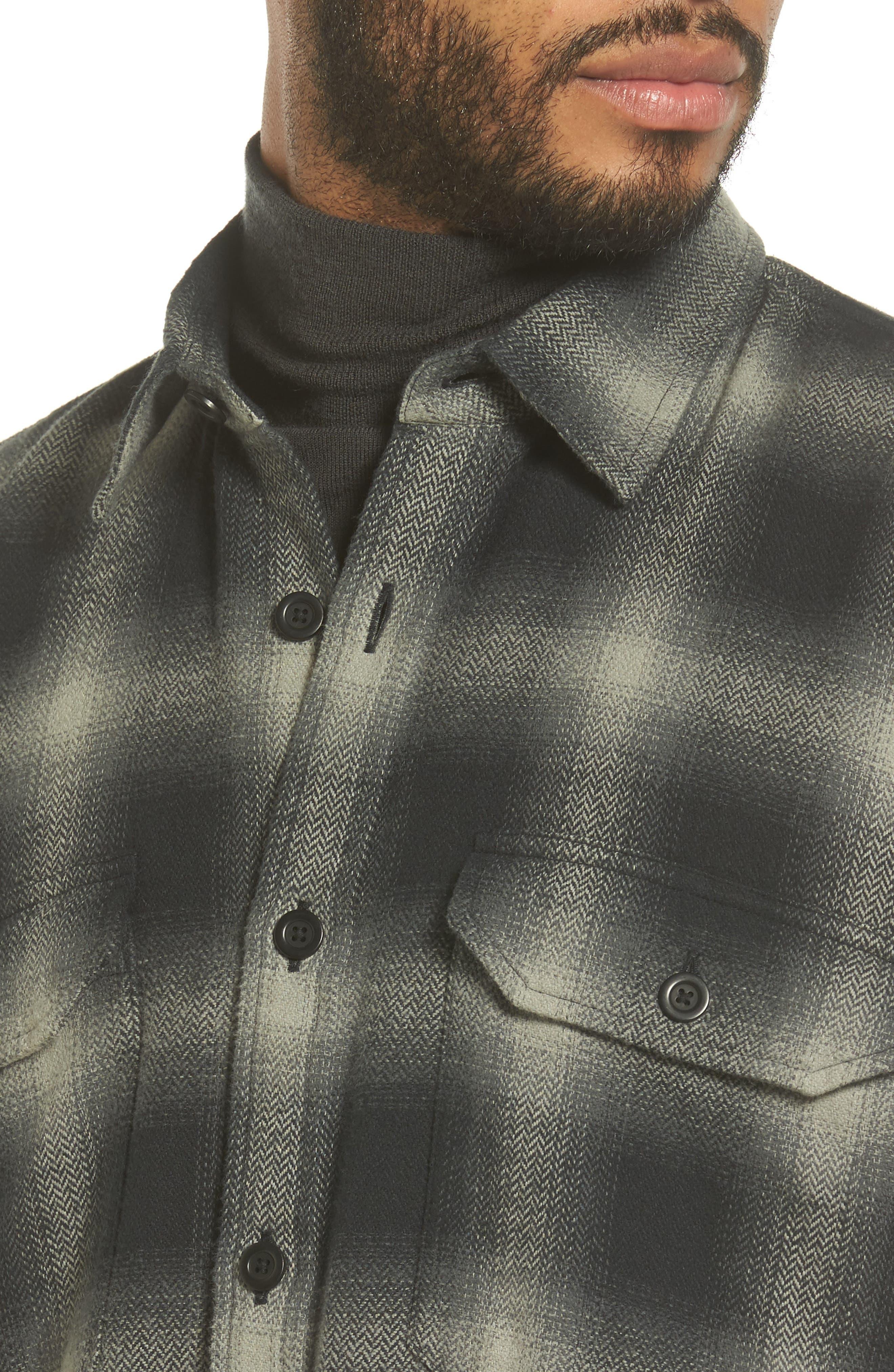 Ombré Buffalo Plaid Sport Shirt,                             Alternate thumbnail 4, color,                             Grey