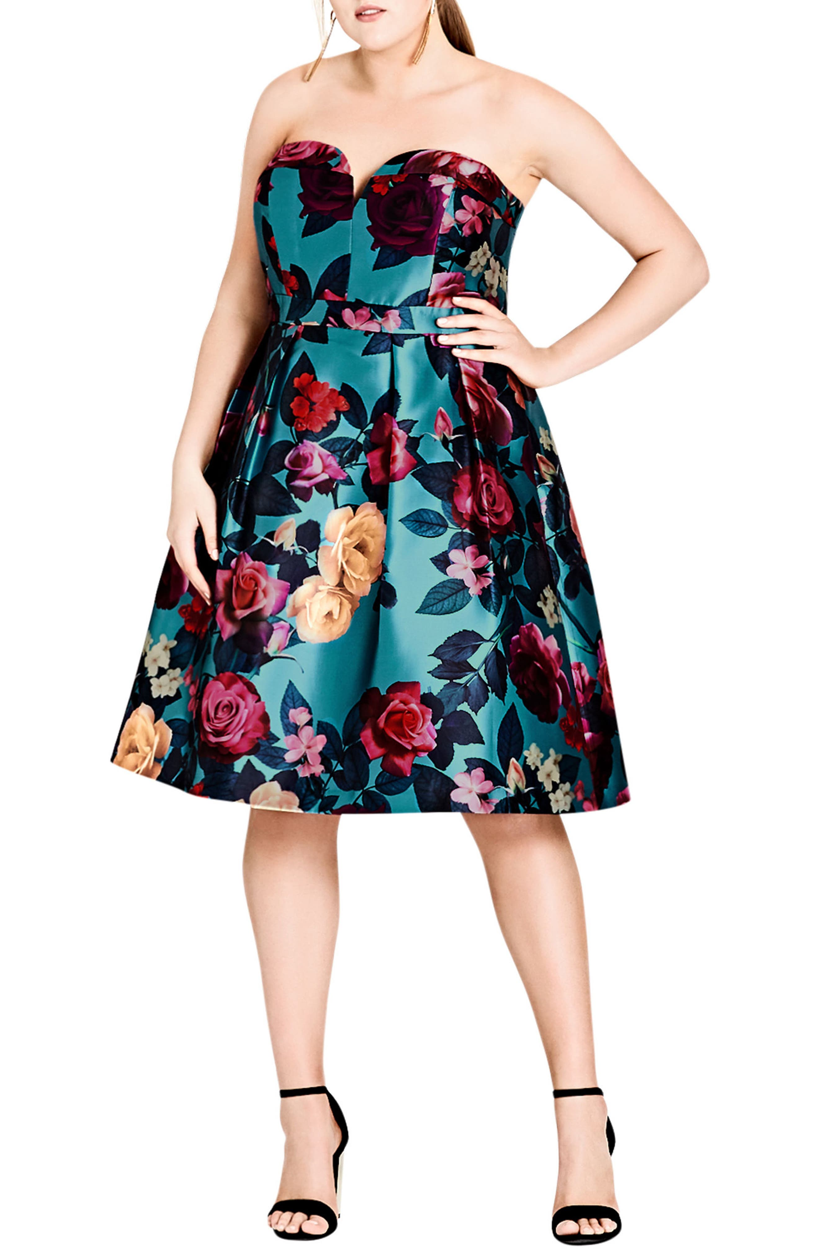 Alternate Image 1 Selected - City Chic Floral Print Fit & Flare Dress (Plus Size)