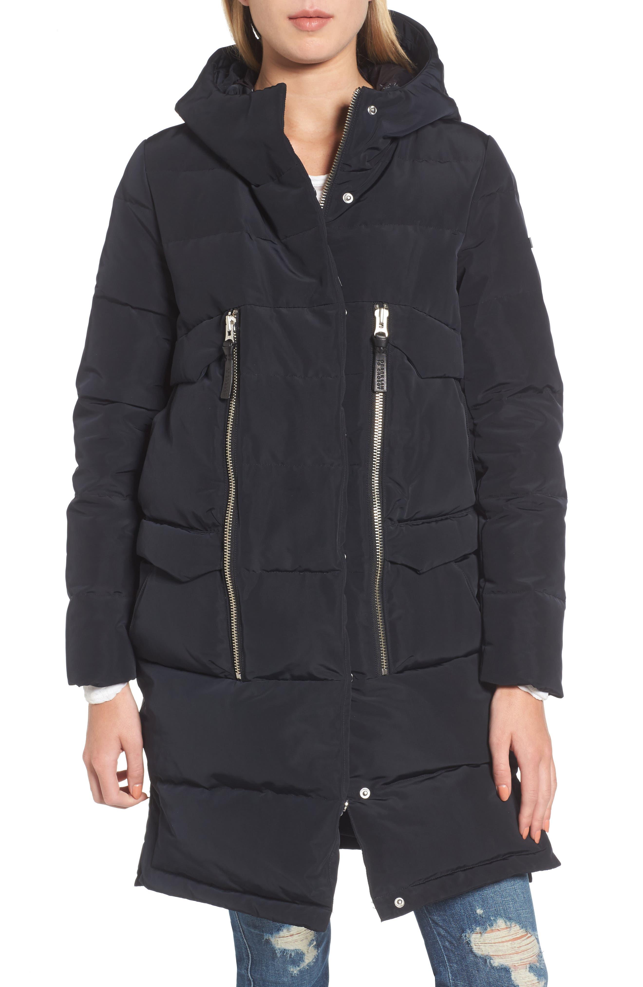 Genuine Fox Fur Trim Down Coat,                             Alternate thumbnail 4, color,                             Black
