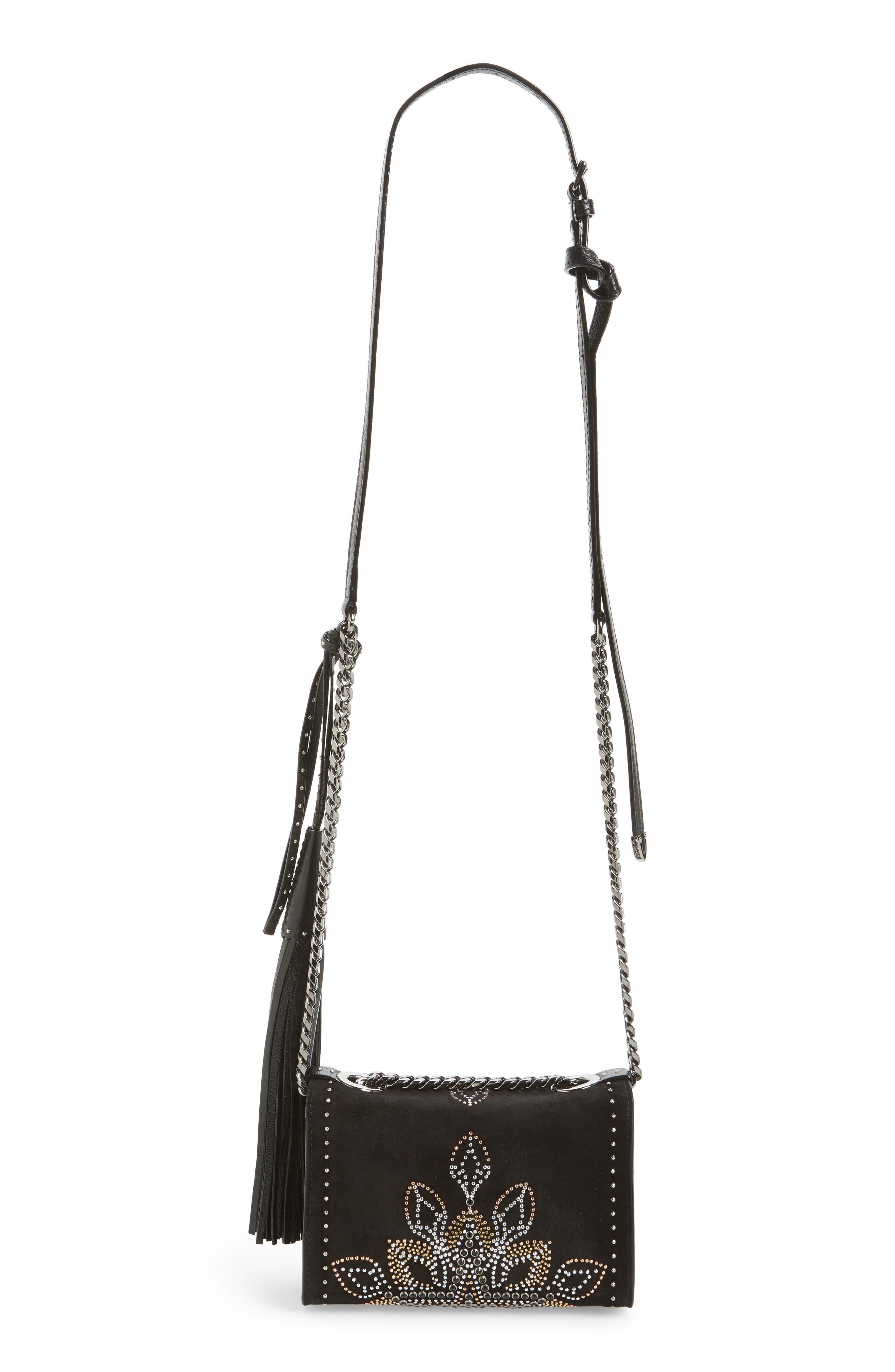 Mini Rebel Studded Suede Crossbody Bag,                             Alternate thumbnail 3, color,                             Black Mix