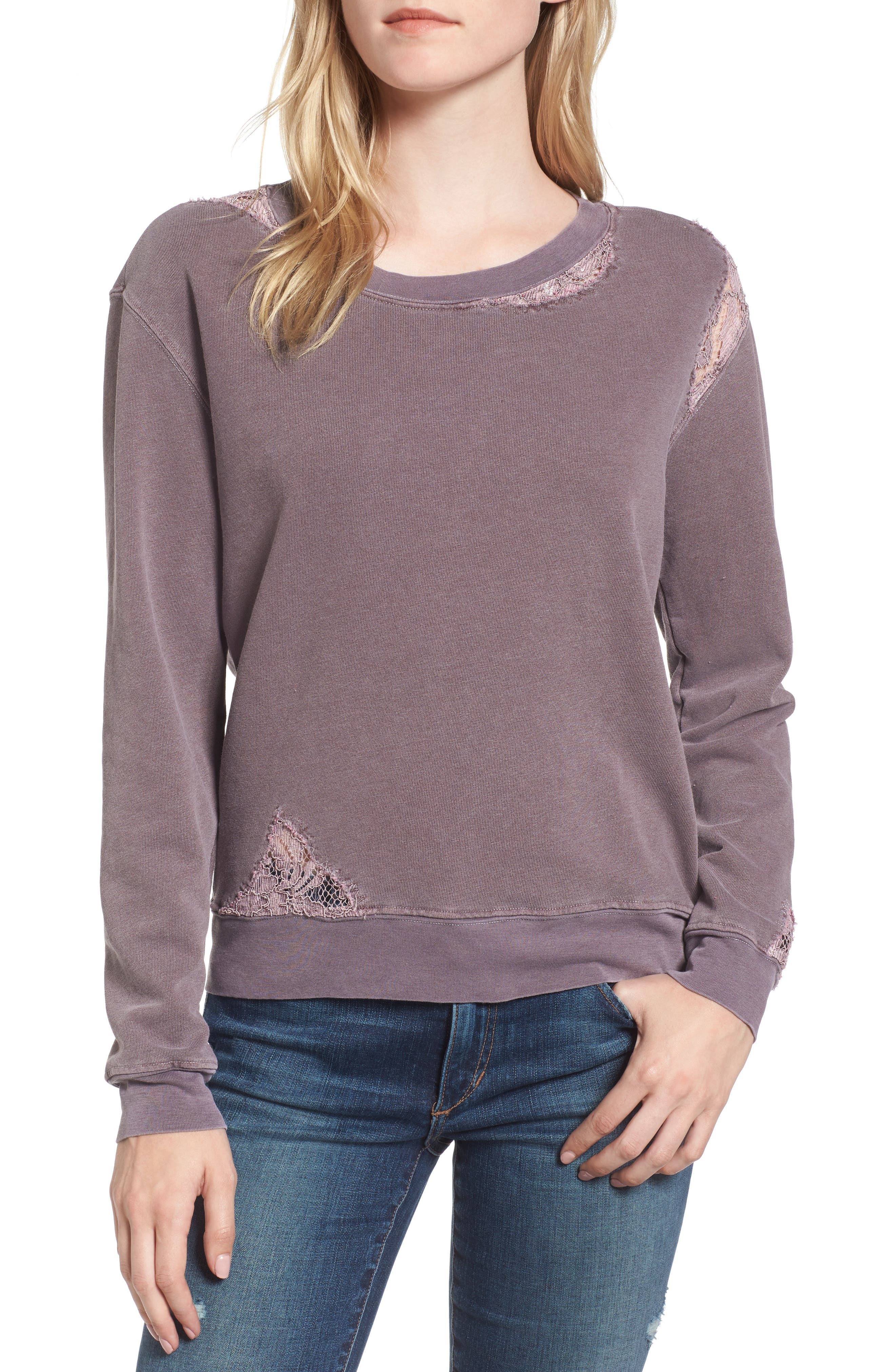 Stateside Lace Trim Sweatshirt