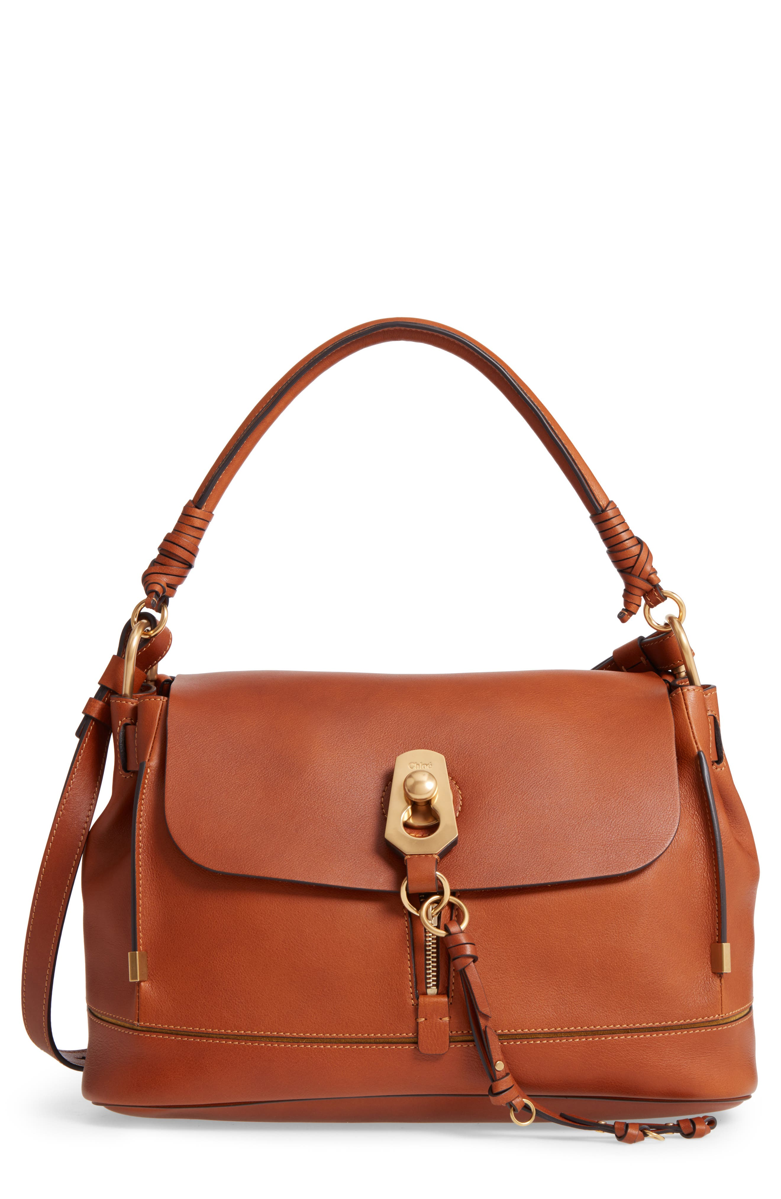 Main Image - Chloé Medium Owen Calfskin Leather Satchel