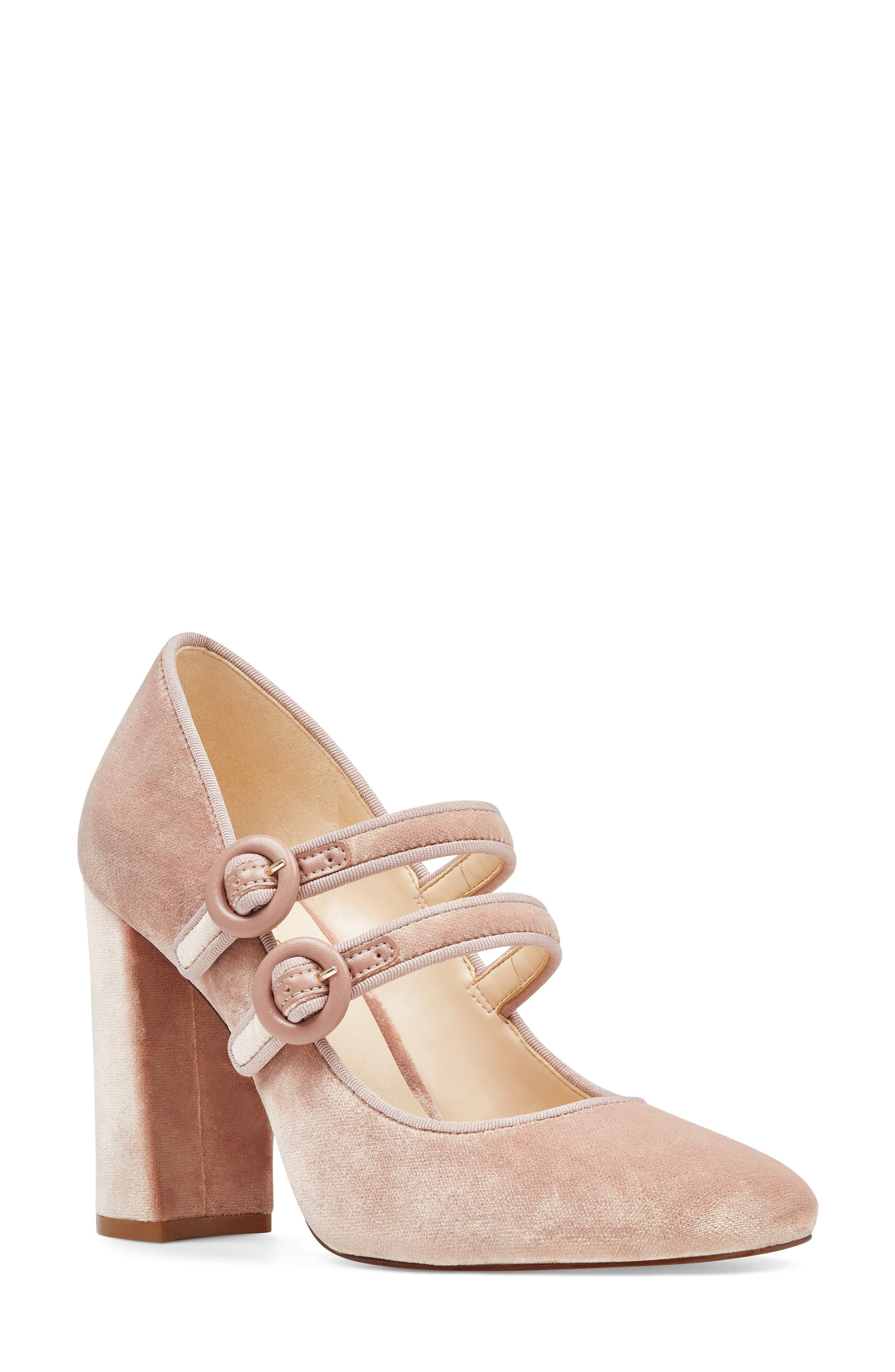 Dabney Double Strap Mary Jane Pump,                         Main,                         color, Natural Fabric
