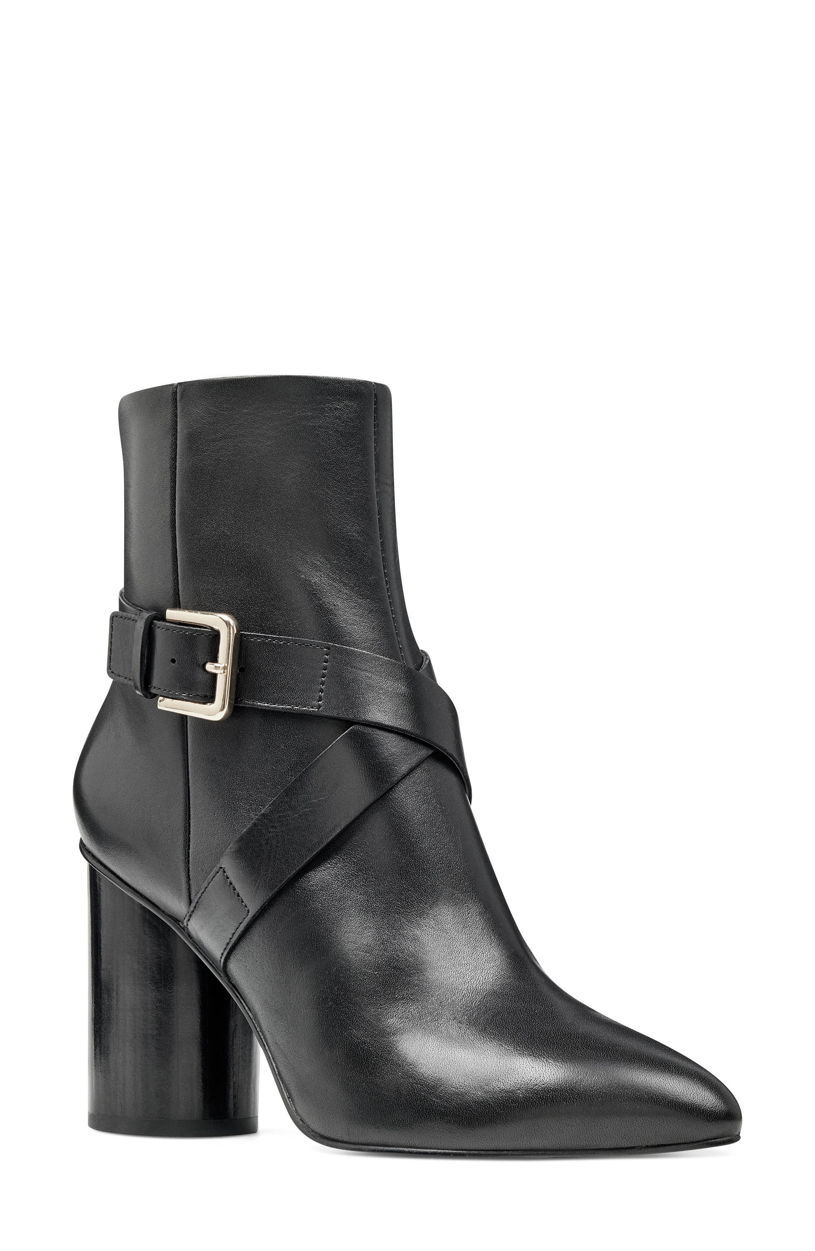Cavanagh Pointy Toe Bootie,                             Main thumbnail 1, color,                             Black Leather