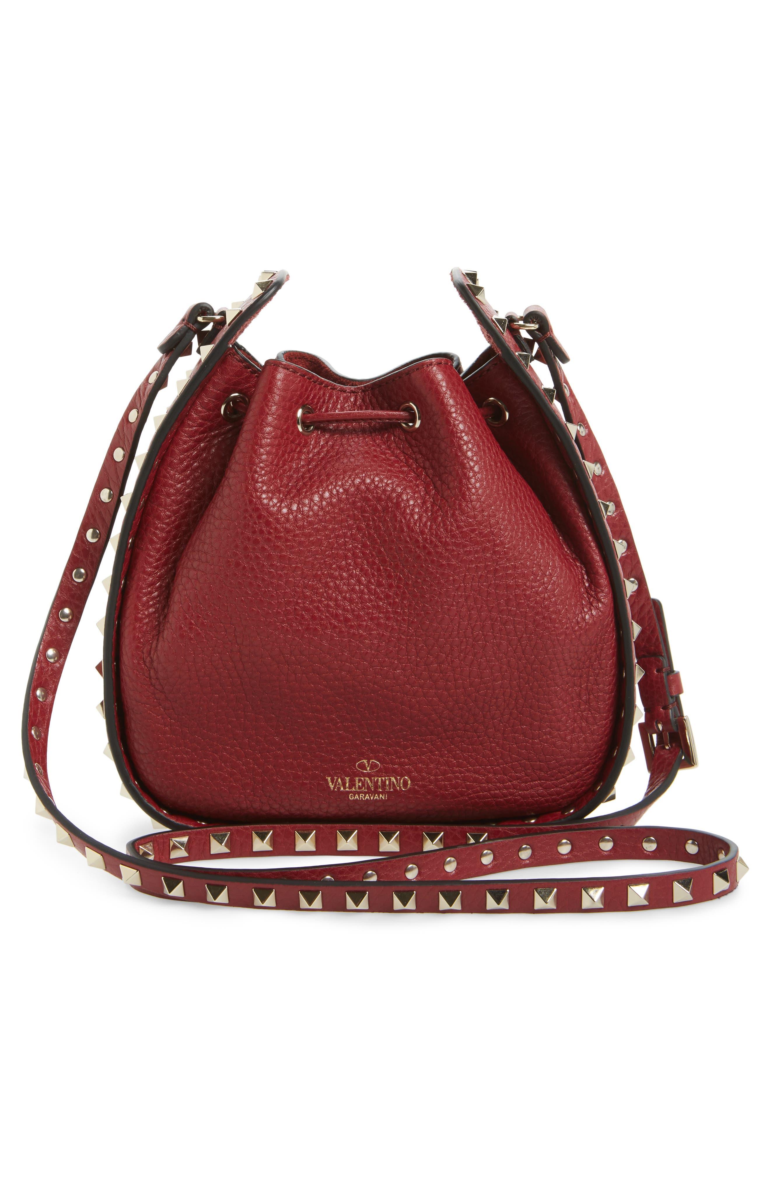 Rockstud Leather Bucket Bag,                             Alternate thumbnail 2, color,                             Rubin