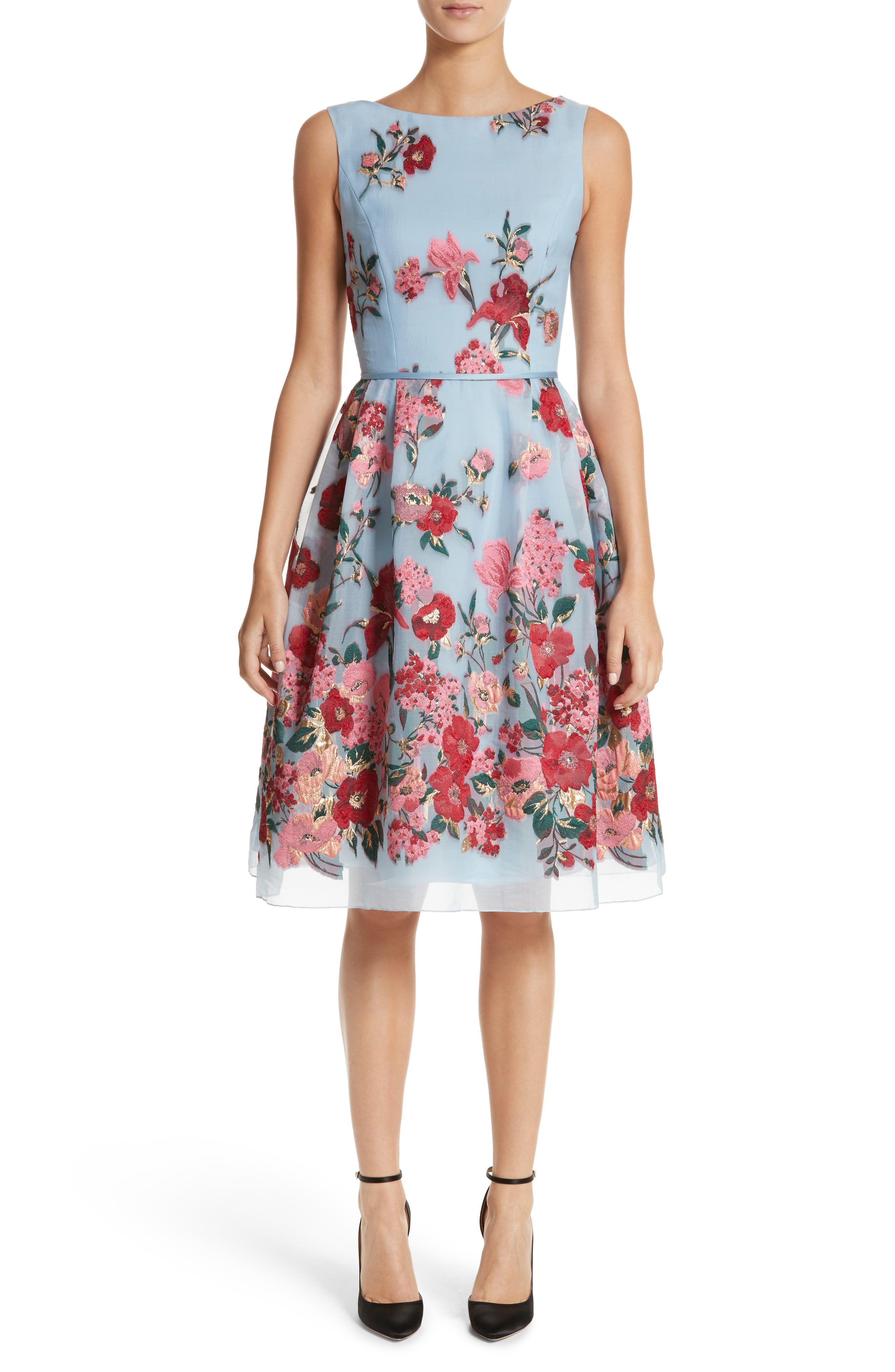 Embroidered Floral Fit & Flare Dress,                         Main,                         color, Cloud Multi