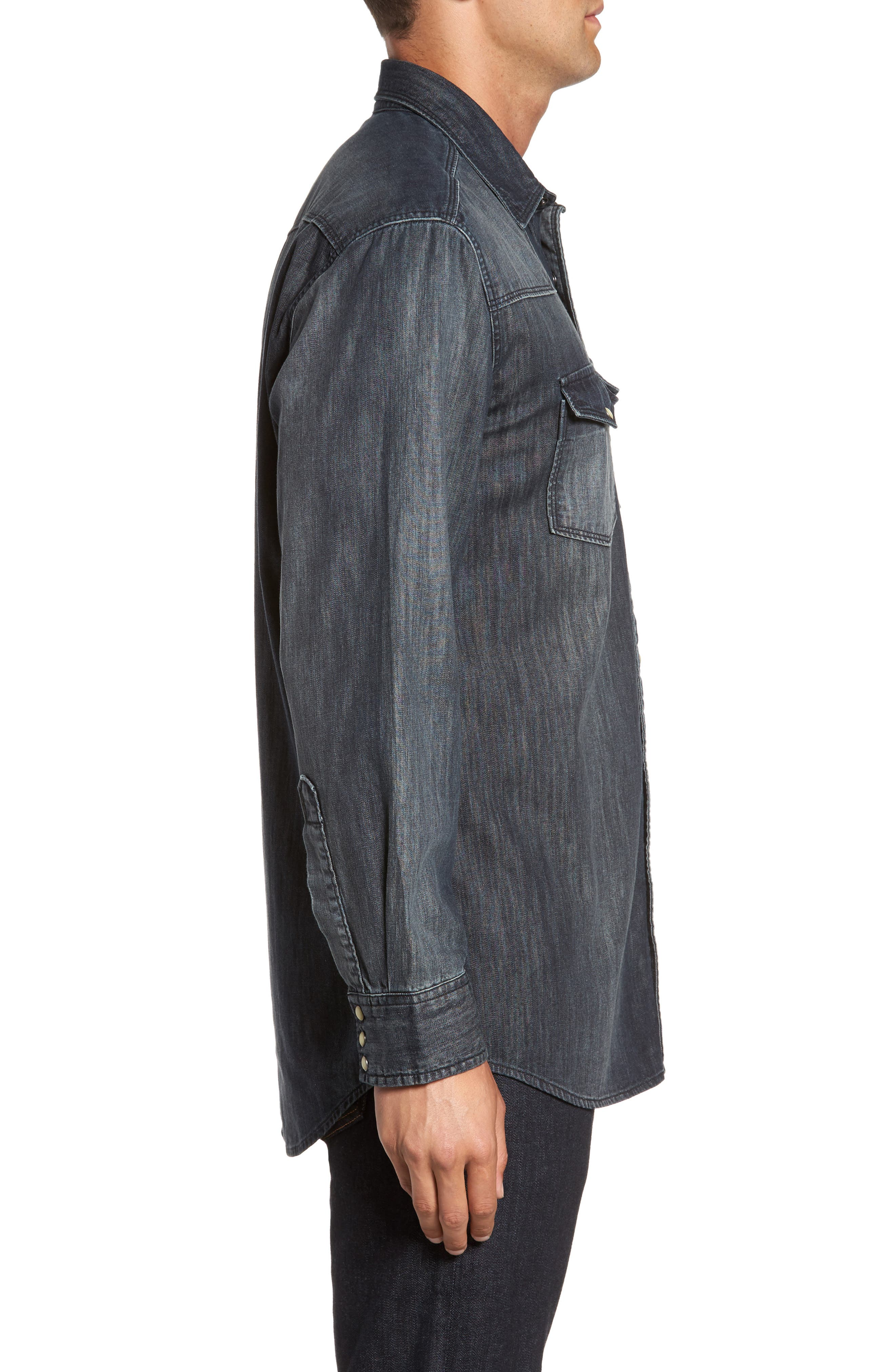 Alternate Image 3  - FLYNT Regular Fit Denim Western Shirt