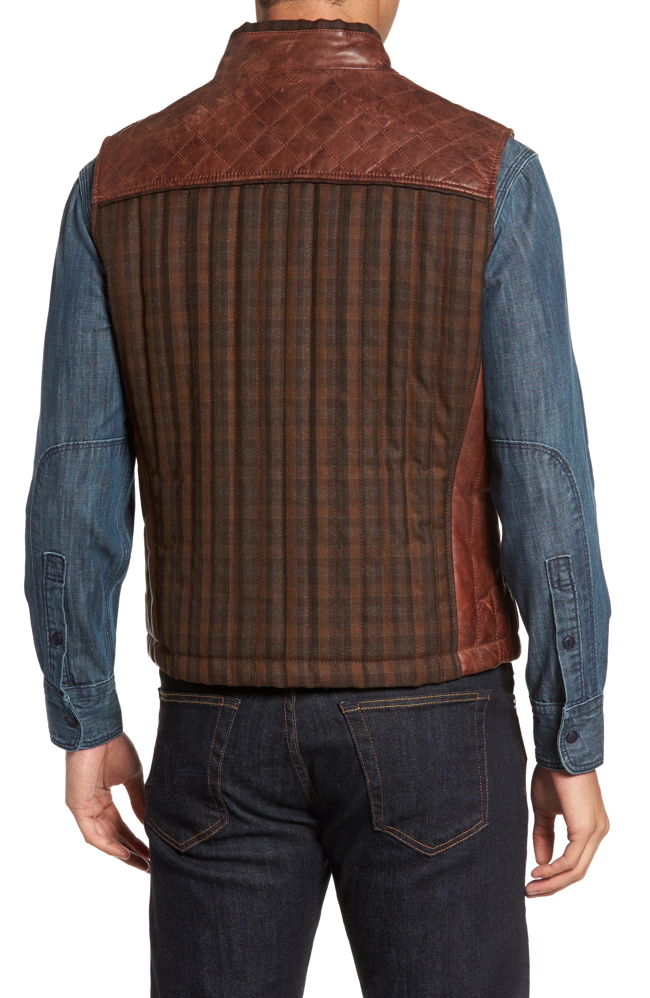 Quilted Leather Vest,                             Alternate thumbnail 2, color,                             Brown