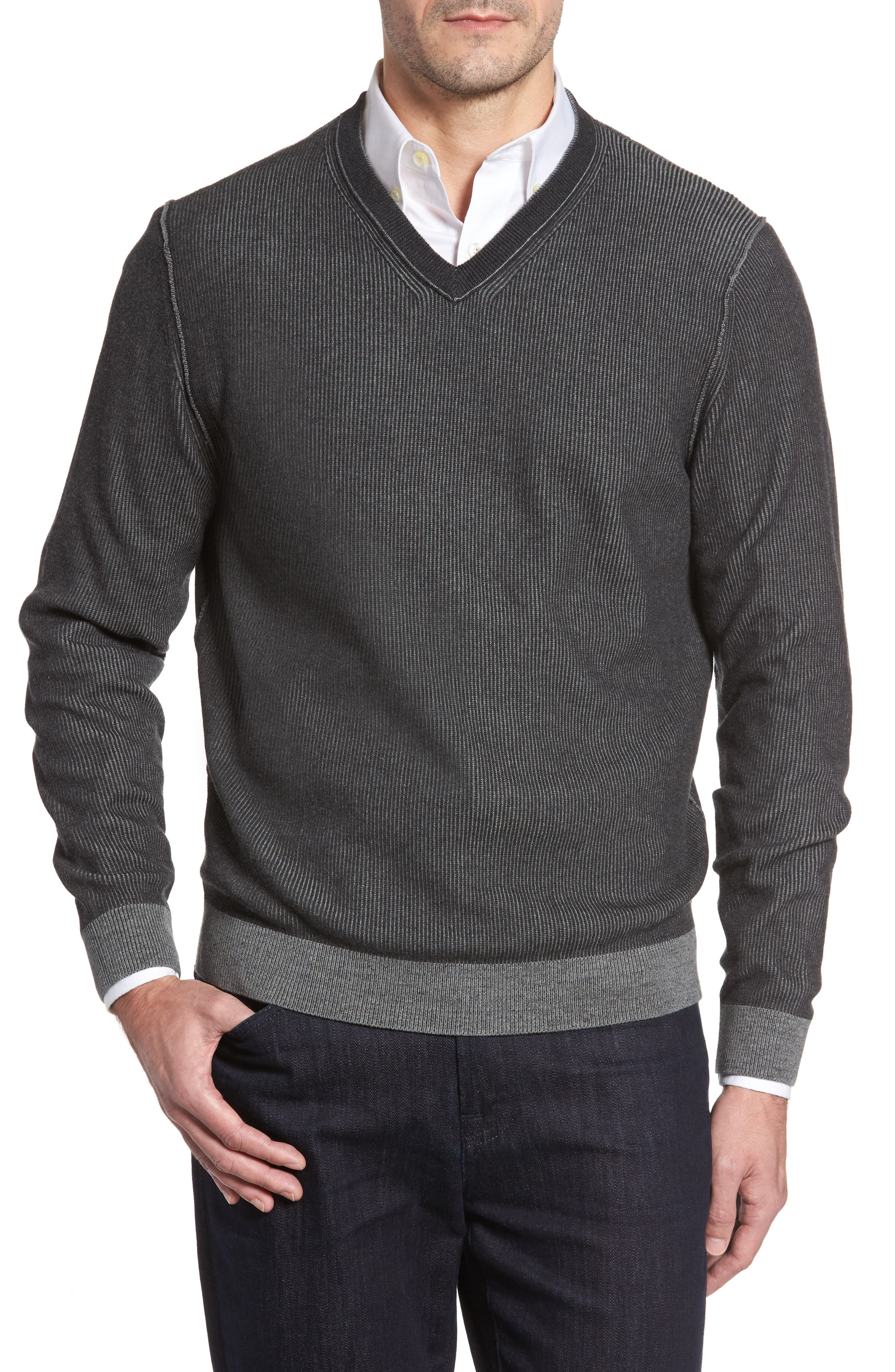 Las Palmas Reversible Sweater,                             Alternate thumbnail 6, color,                             Charcoal Heather
