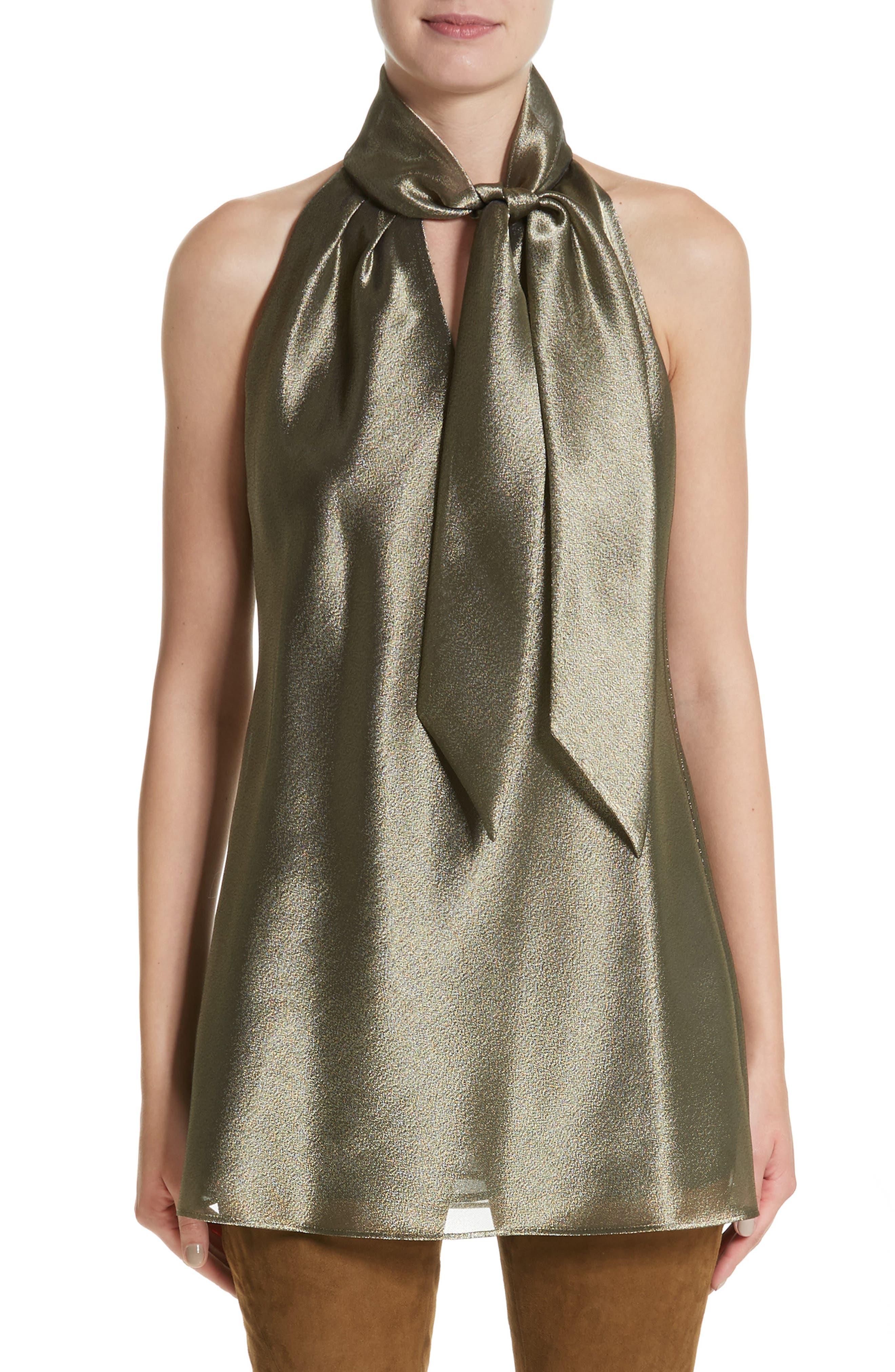 Julissa Bijoux Cloth Blouse,                         Main,                         color, Bronze Metallic