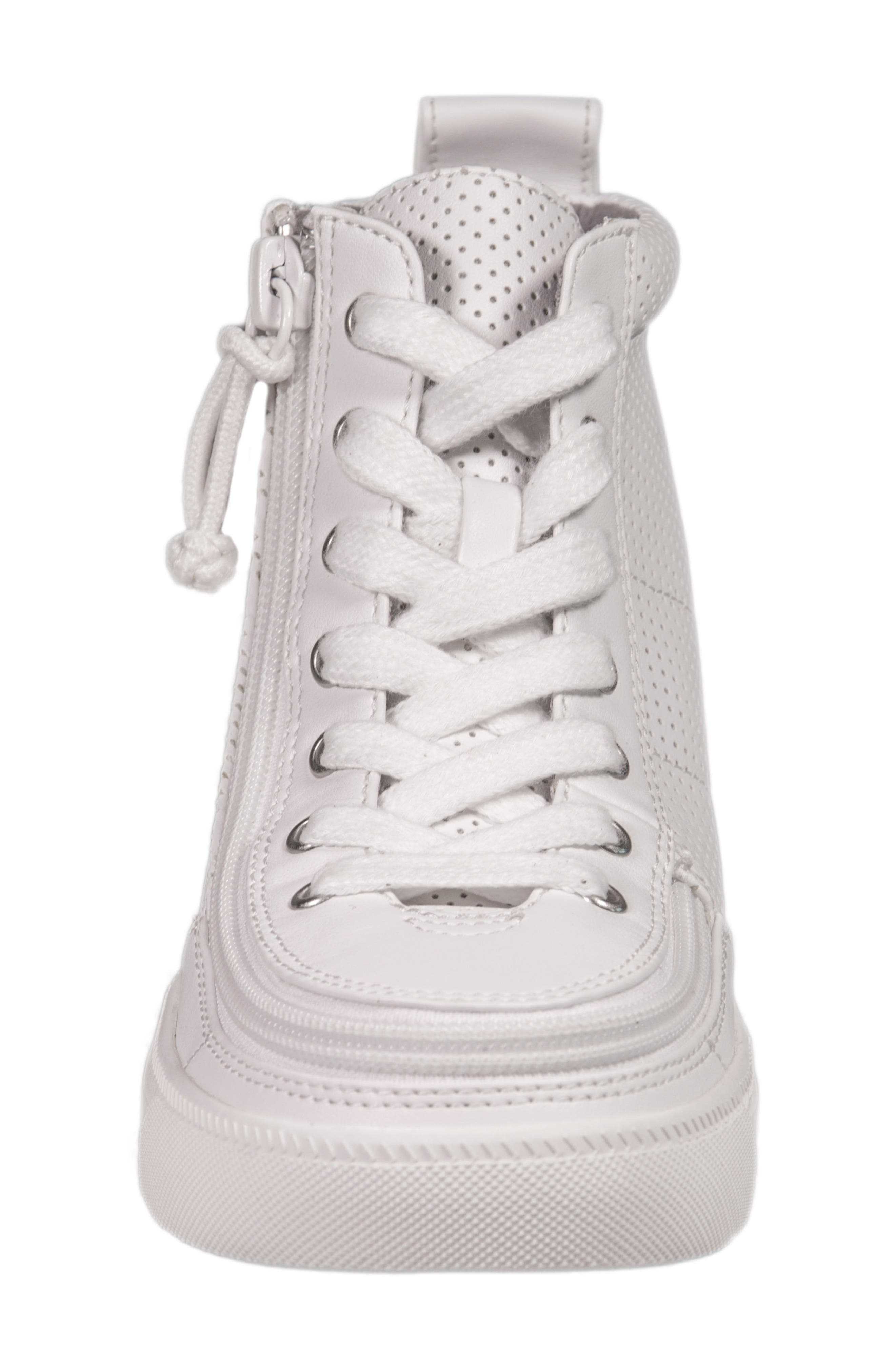 Zip Around Perforated High Top Sneaker,                             Alternate thumbnail 4, color,                             White Perforated