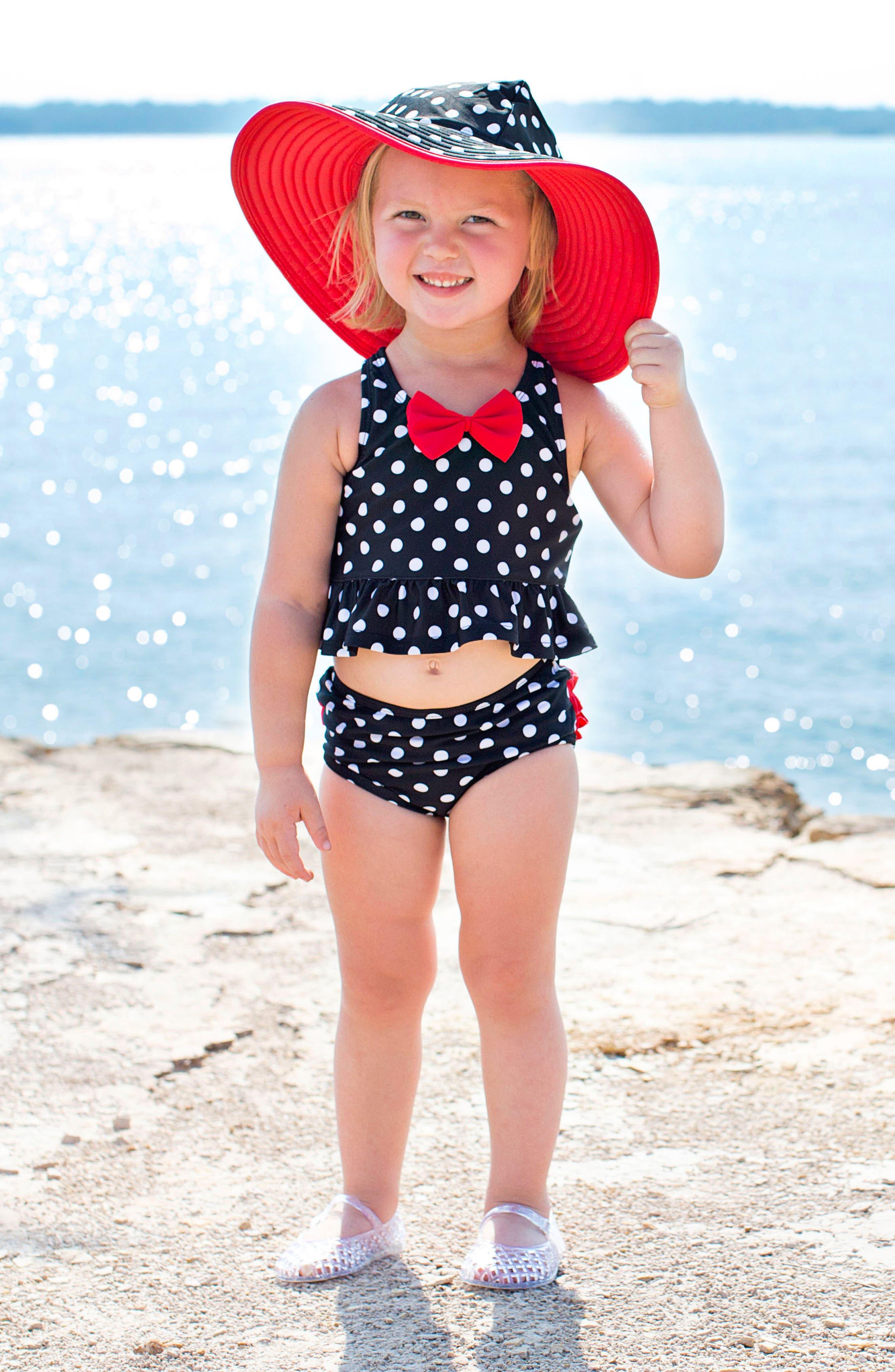 Vintage Bow Peplum Two-Piece Tankini Swimsuit & Hat Set,                             Alternate thumbnail 3, color,                             Black