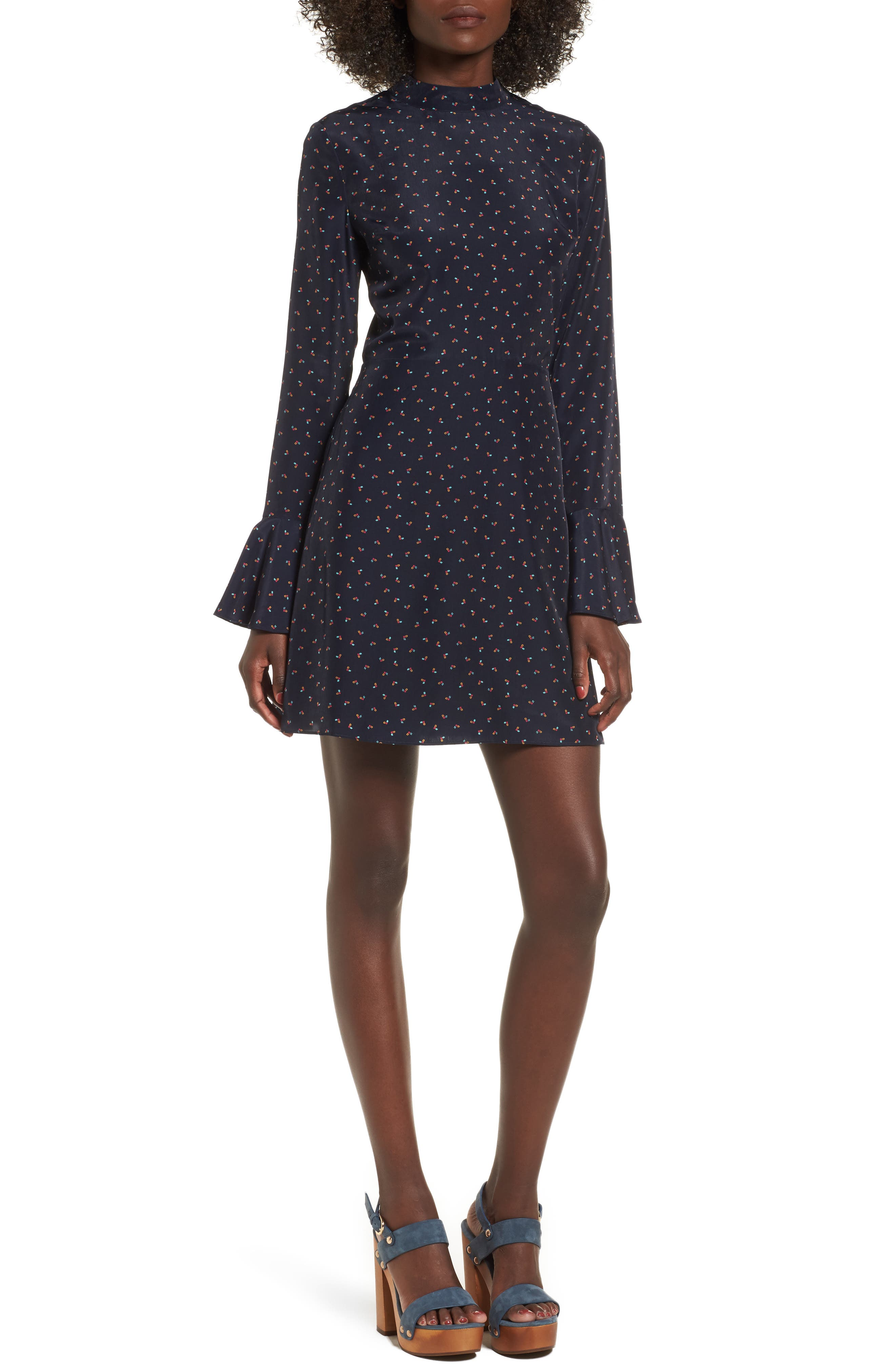 J.O.A. High Neck Fit & Flare Dress