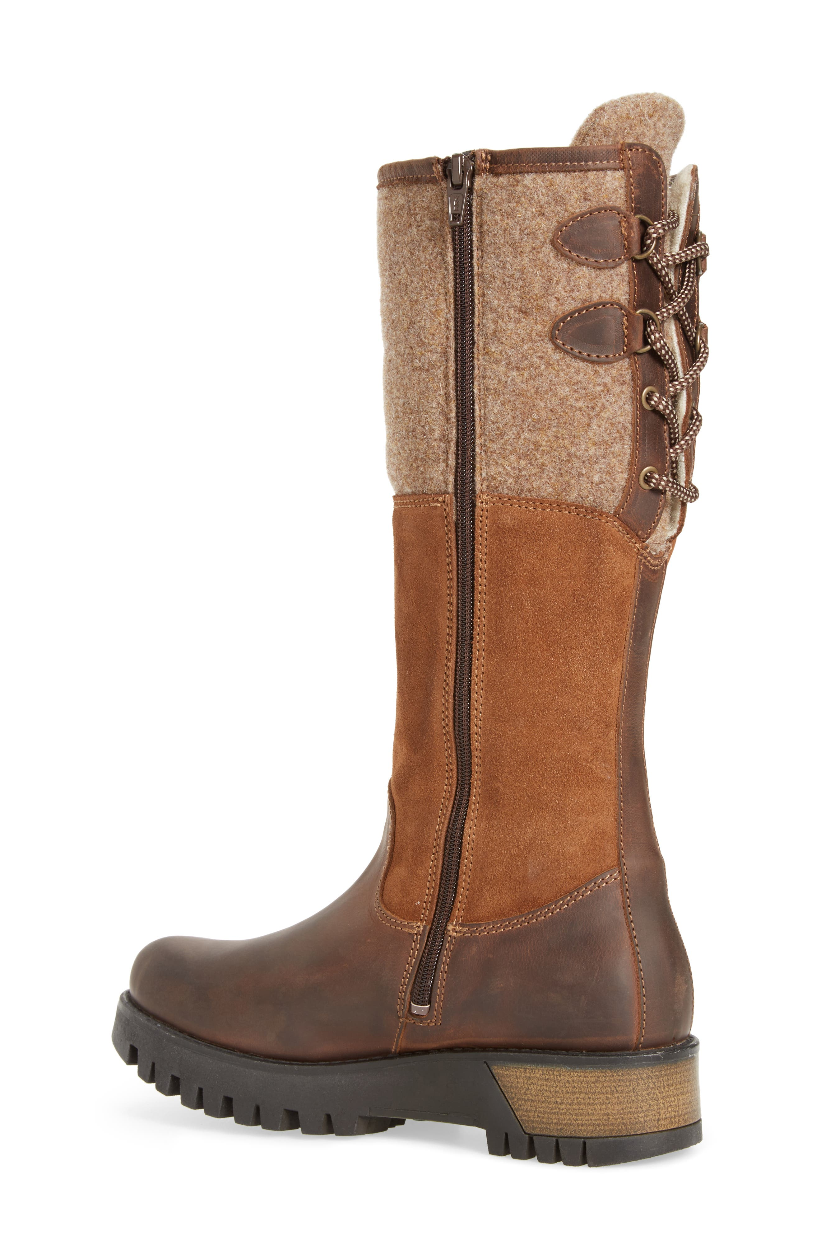 'Ginger' Waterproof Mid Calf Platform Boot,                             Alternate thumbnail 2, color,                             Expresso/ Beige