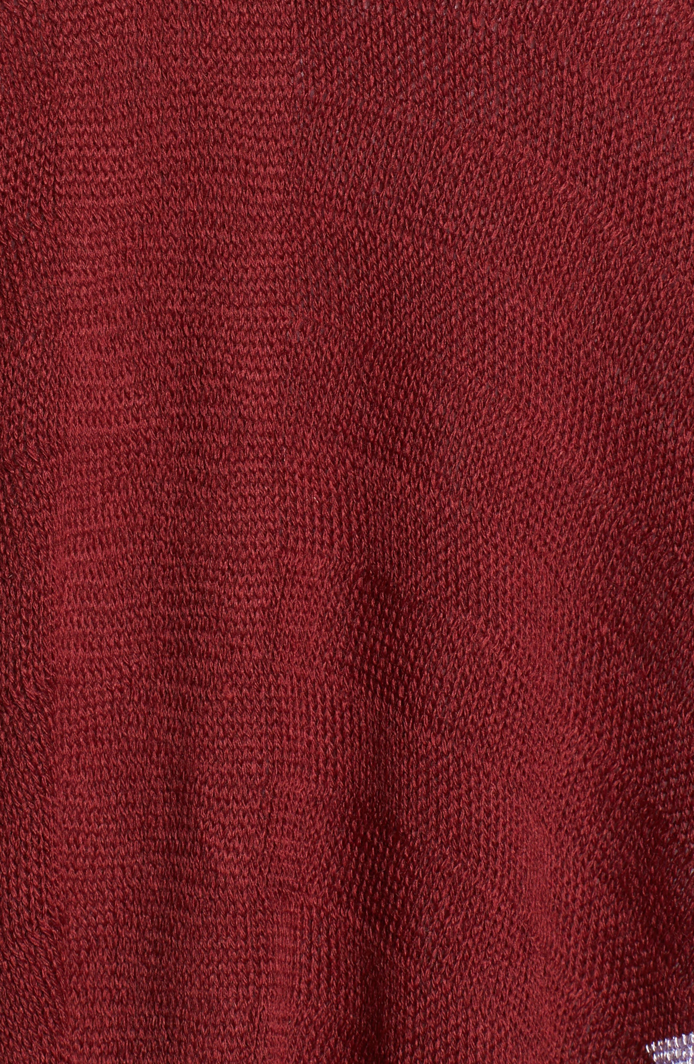 Zigzag Poncho,                             Alternate thumbnail 6, color,                             Burgundy