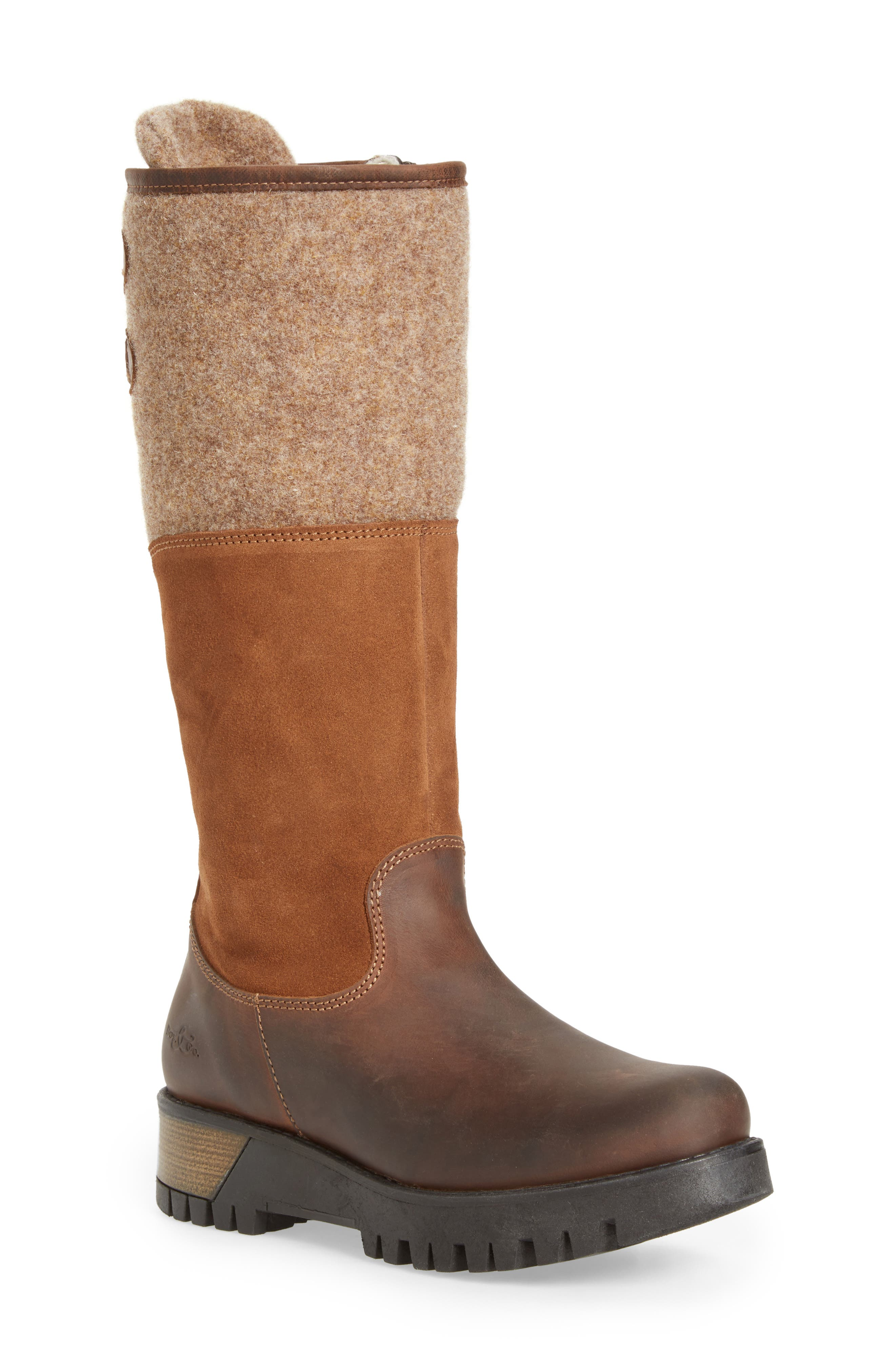 'Ginger' Waterproof Mid Calf Platform Boot,                             Main thumbnail 1, color,                             Expresso/ Beige