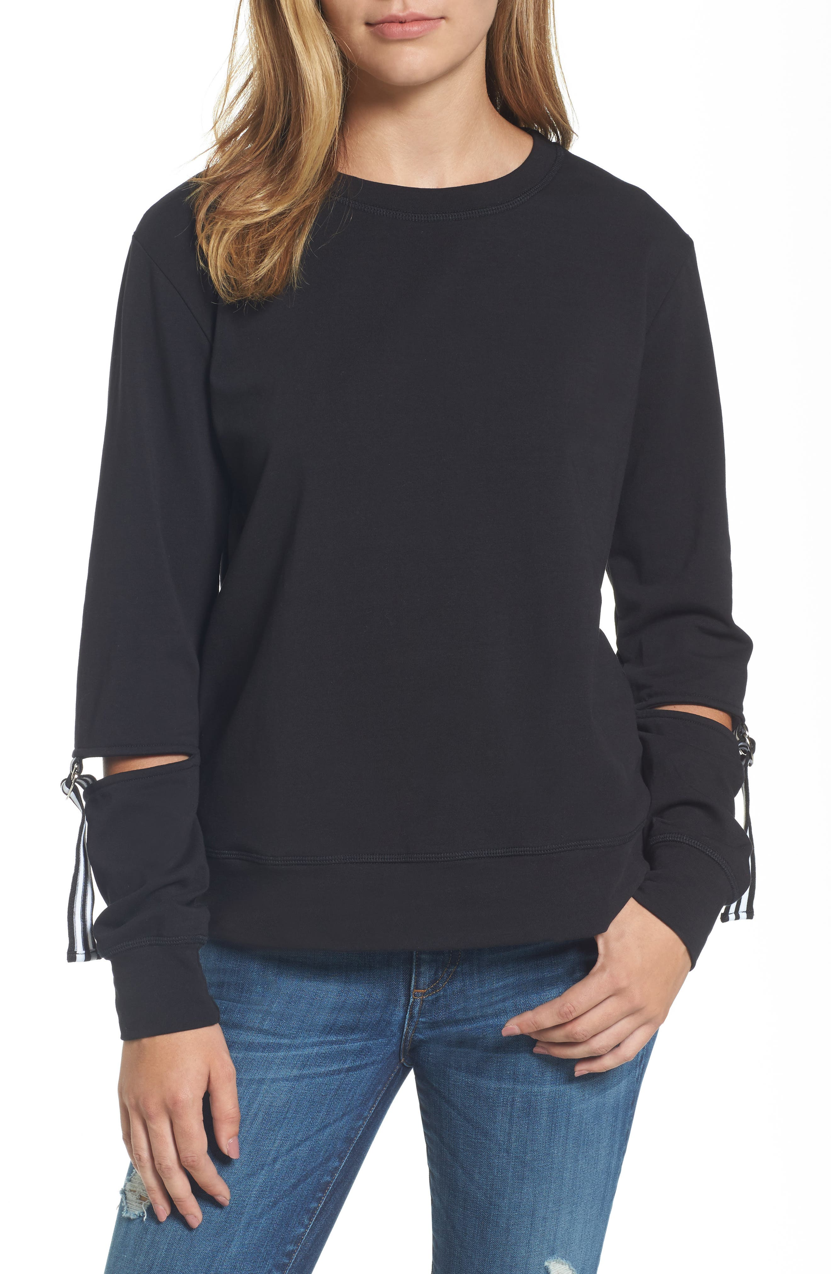 Bobeau D-Ring Cutout Sleeve Sweatshirt