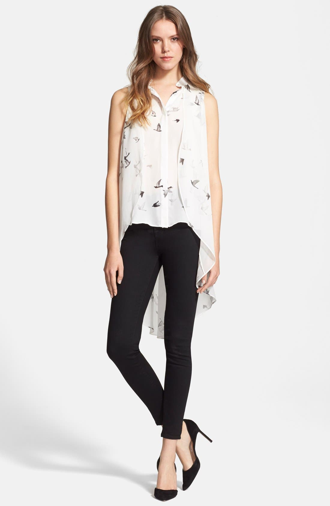 Main Image - Haute Hippie Bird Print High/Low Silk Blouse