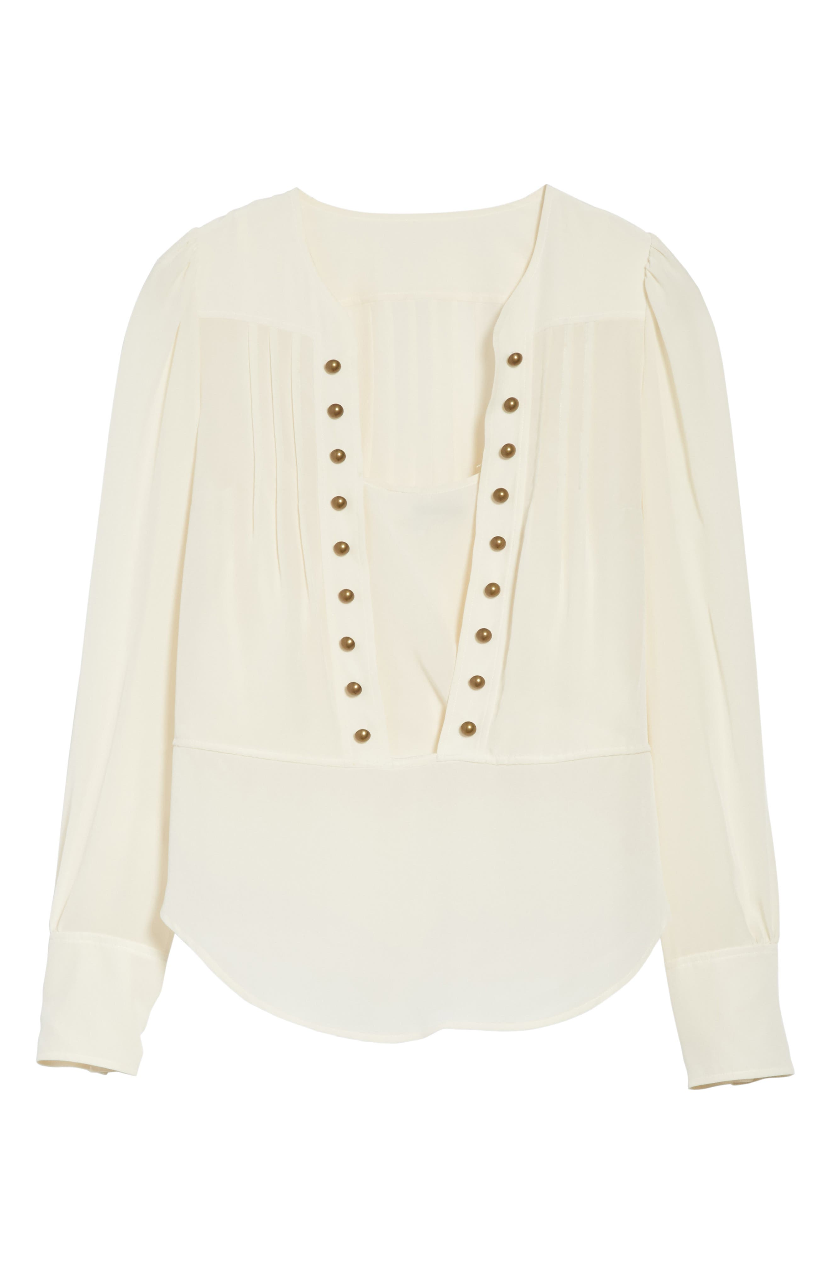 Alternate Image 6  - Tracy Reese Button Front Silk Blouse