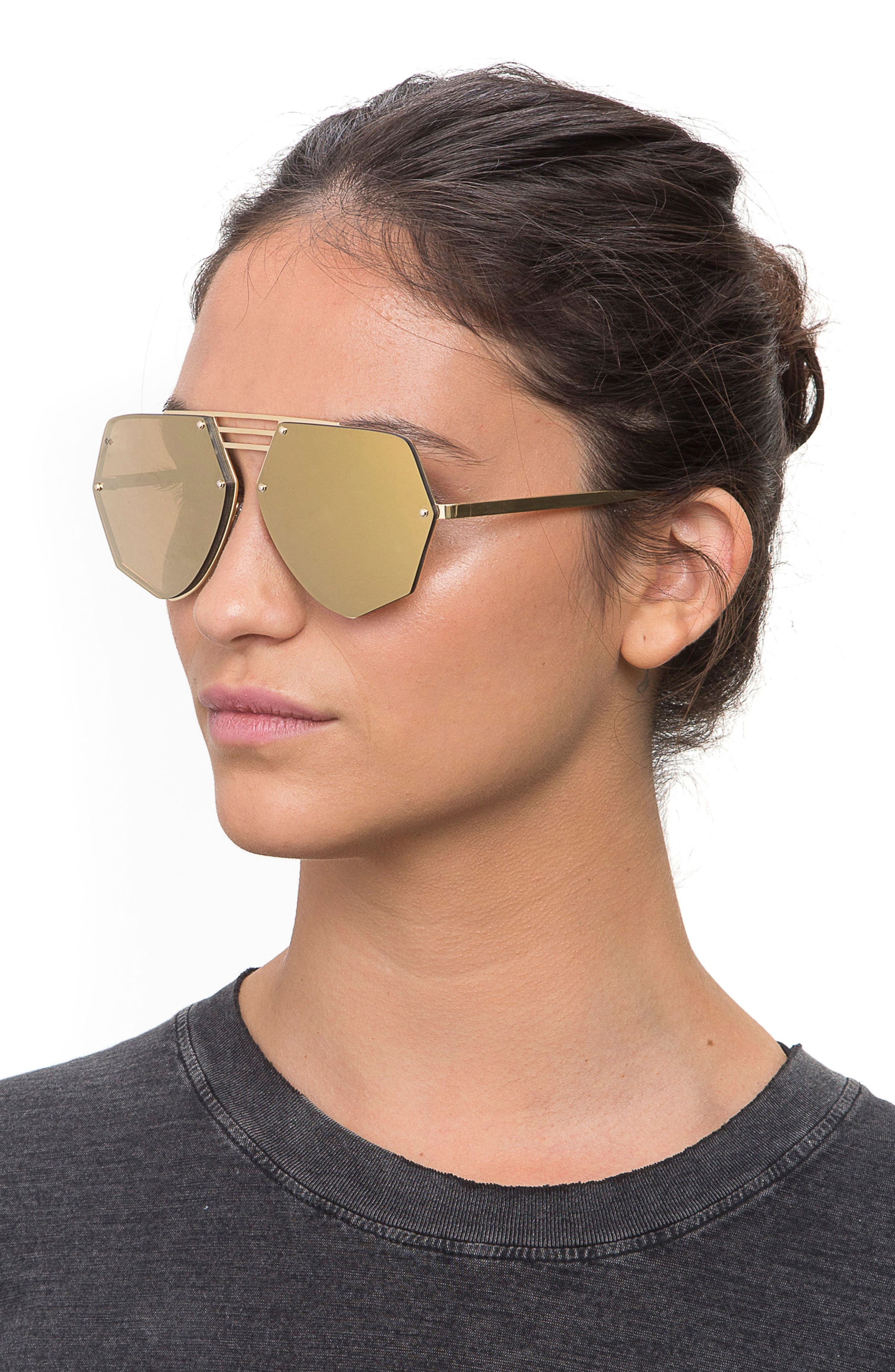 Geo 8 60mm Sunglasses,                             Alternate thumbnail 2, color,                             Gold/ Gold Mirror