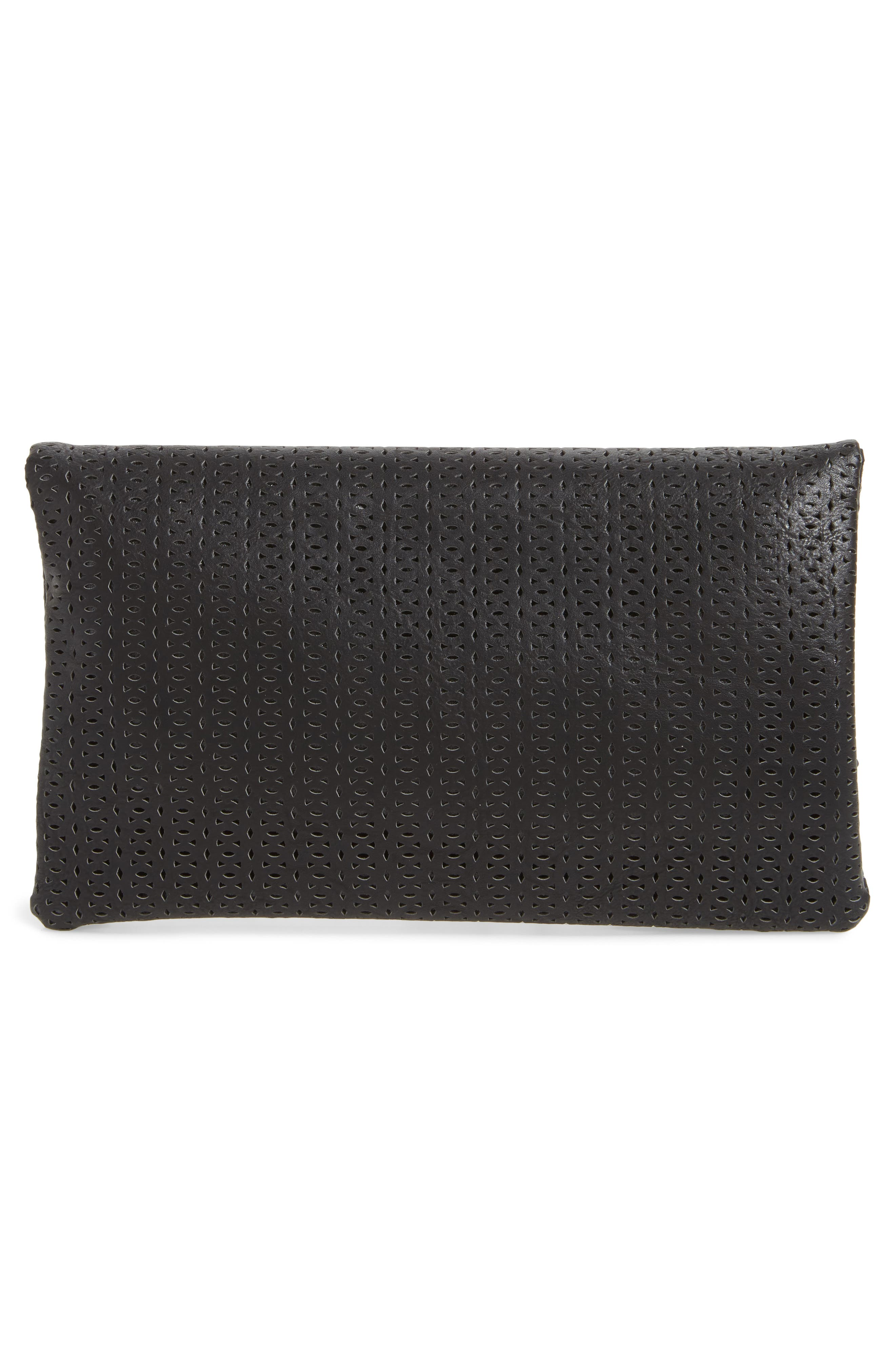 Perforated Fold Over Clutch,                             Alternate thumbnail 2, color,                             Black