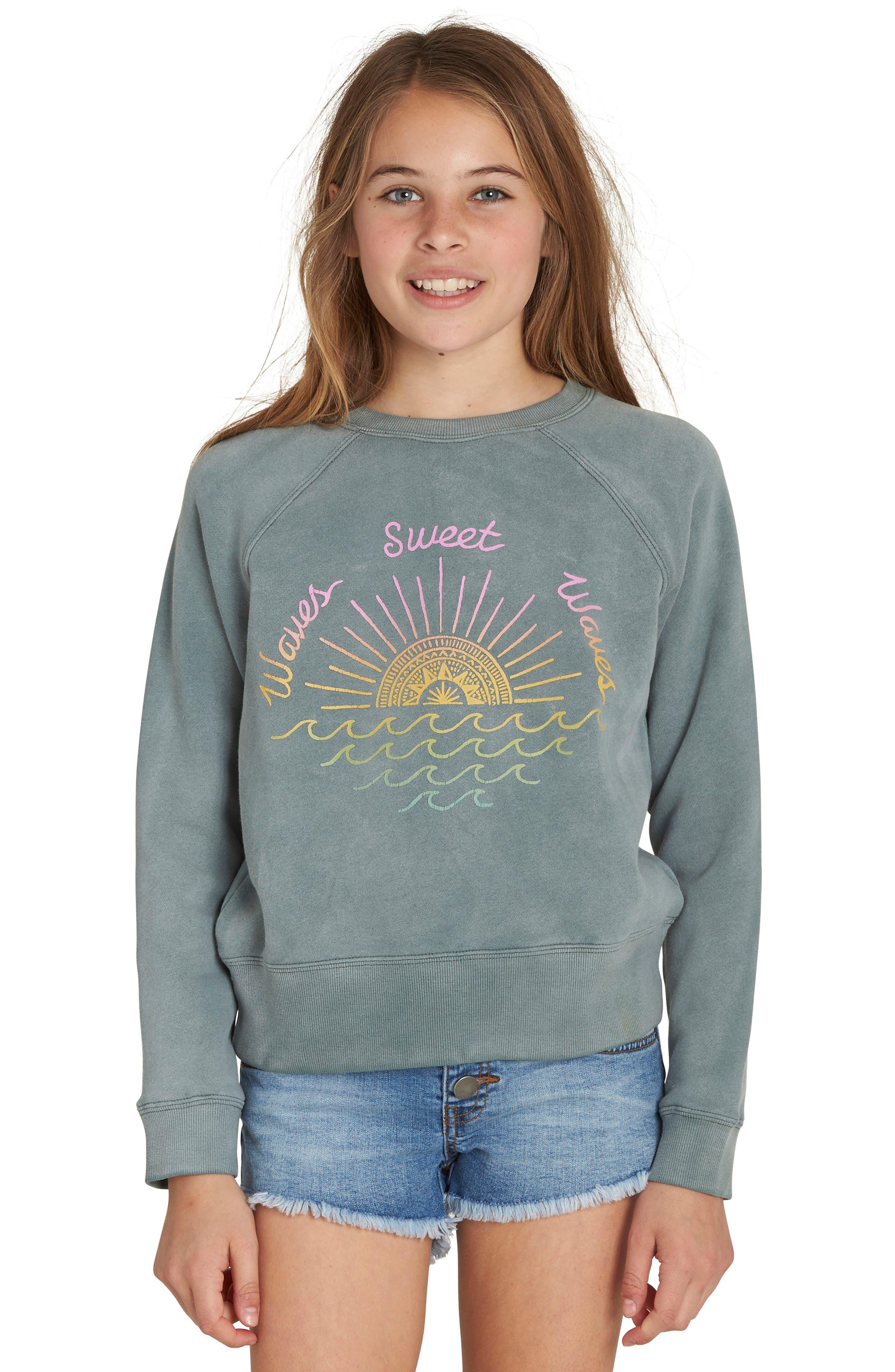 Main Image - Billabong Whole Heart Graphic Sweatshirt (Little Girls & Big Girls)