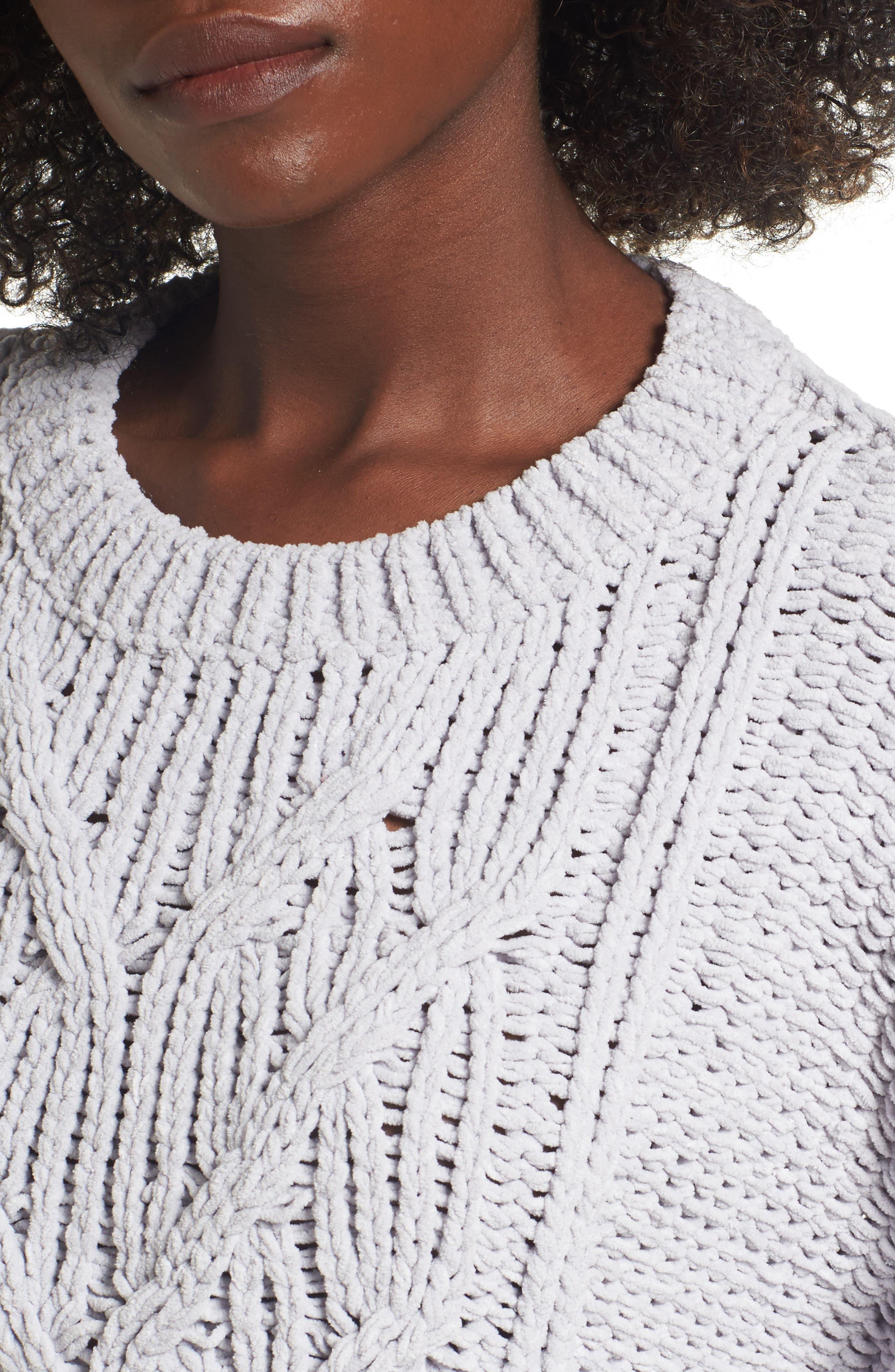Cozy Crewneck Sweater,                             Alternate thumbnail 4, color,                             Light Grey