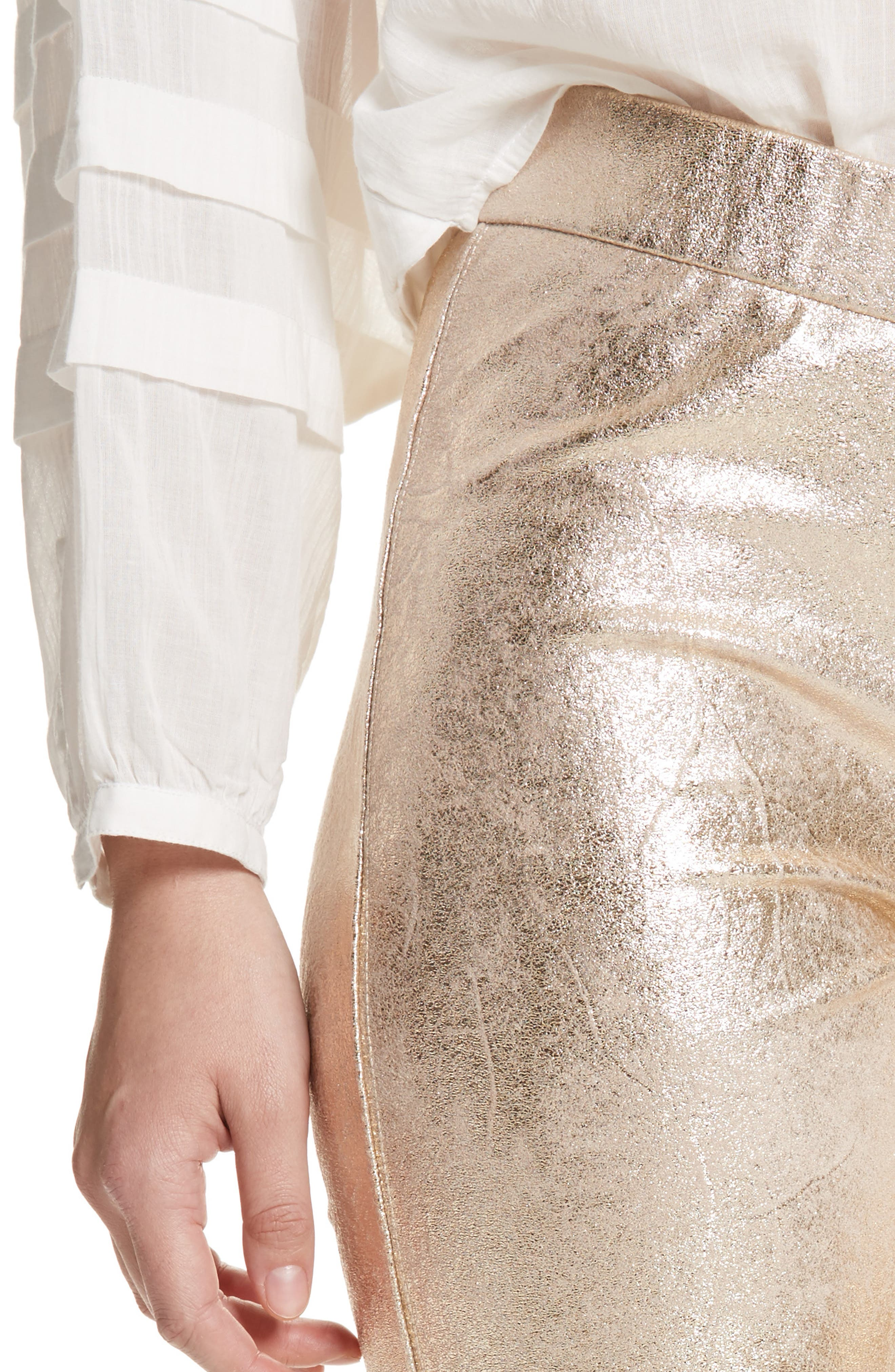 Faux Leather Leggings,                             Alternate thumbnail 4, color,                             Gold