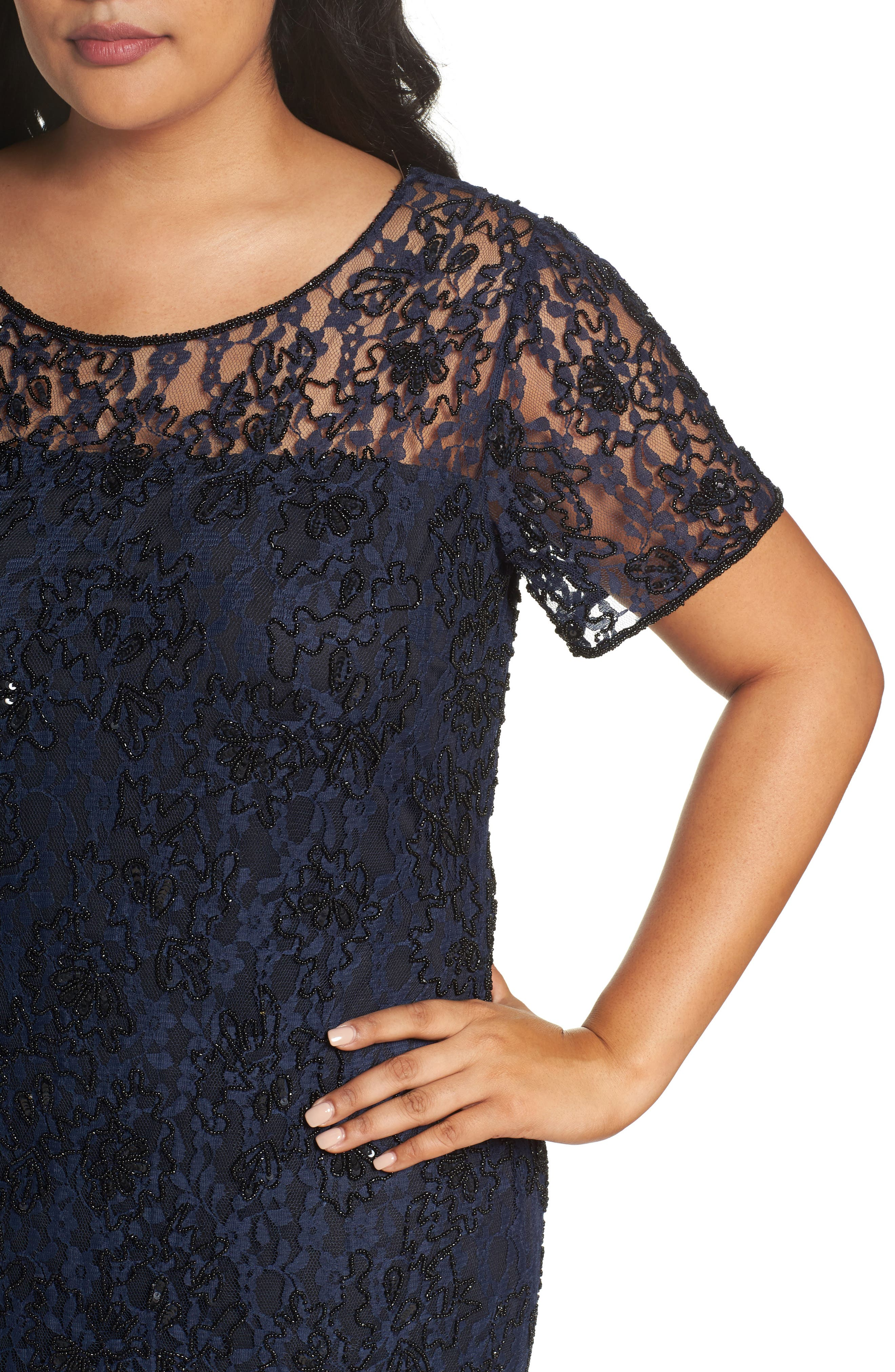 Alternate Image 4  - Pisarro Nights Beaded Lace Gown (Plus Size)