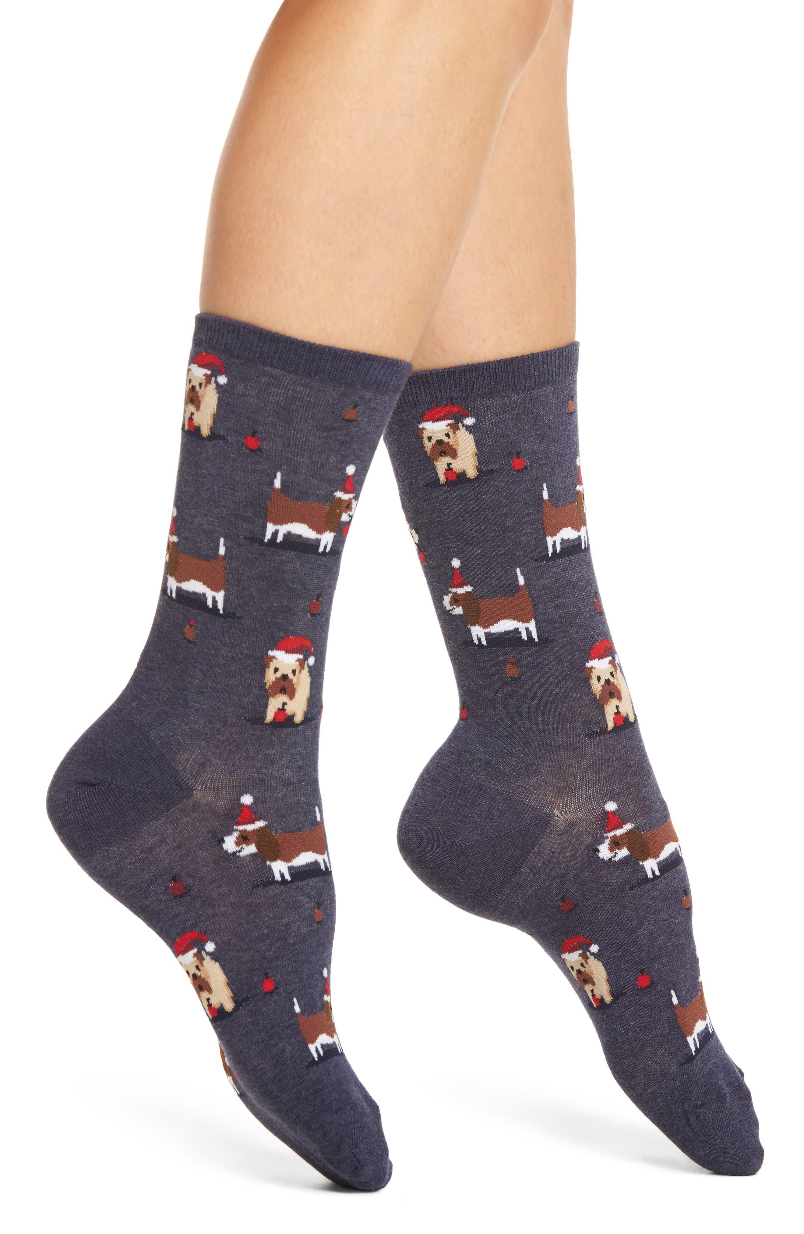 Hot Sox Christmas Doggies Crew Socks