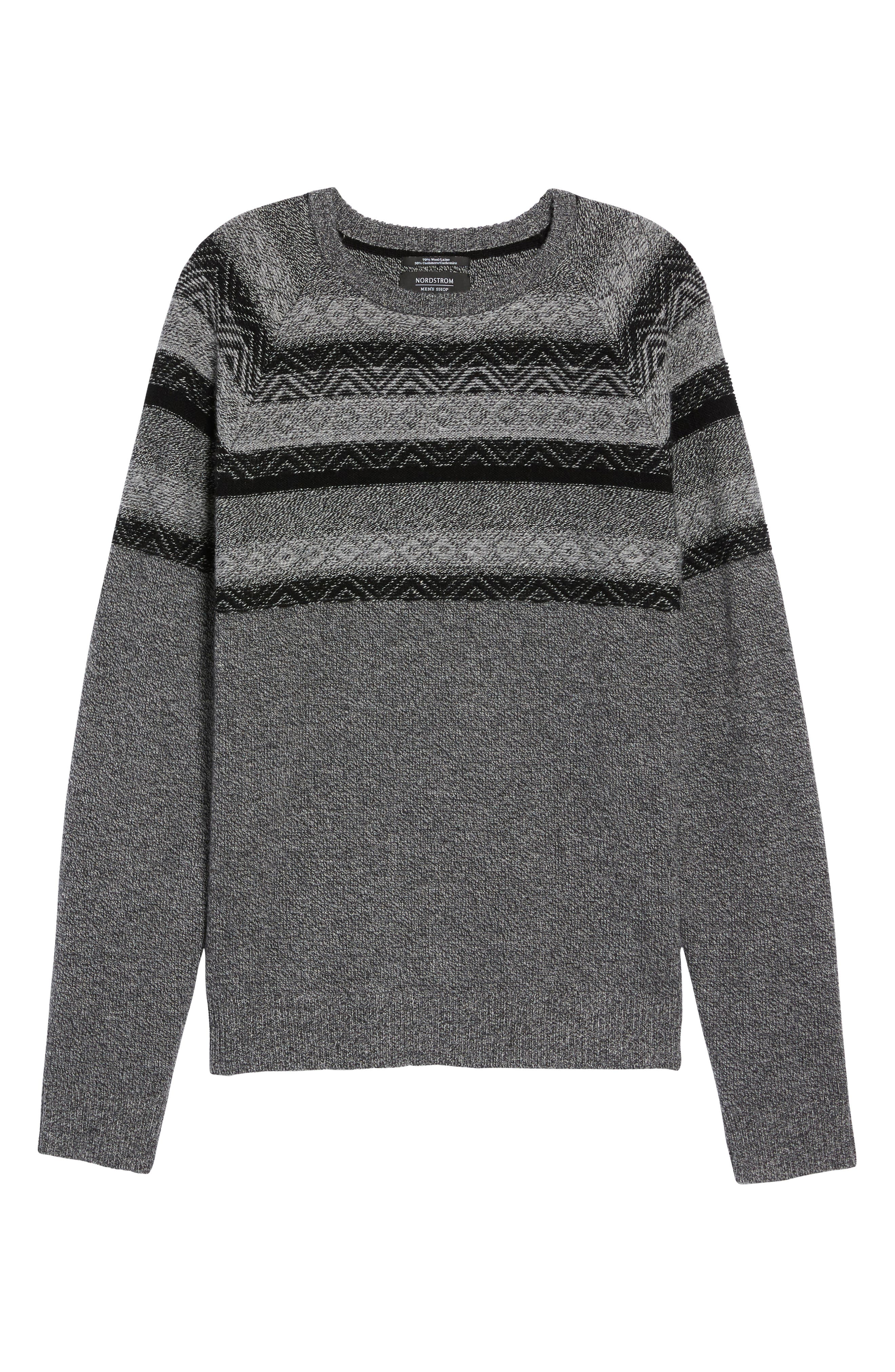 Pattern Wool & Cashmere Sweater,                             Alternate thumbnail 6, color,                             Grey Phantom