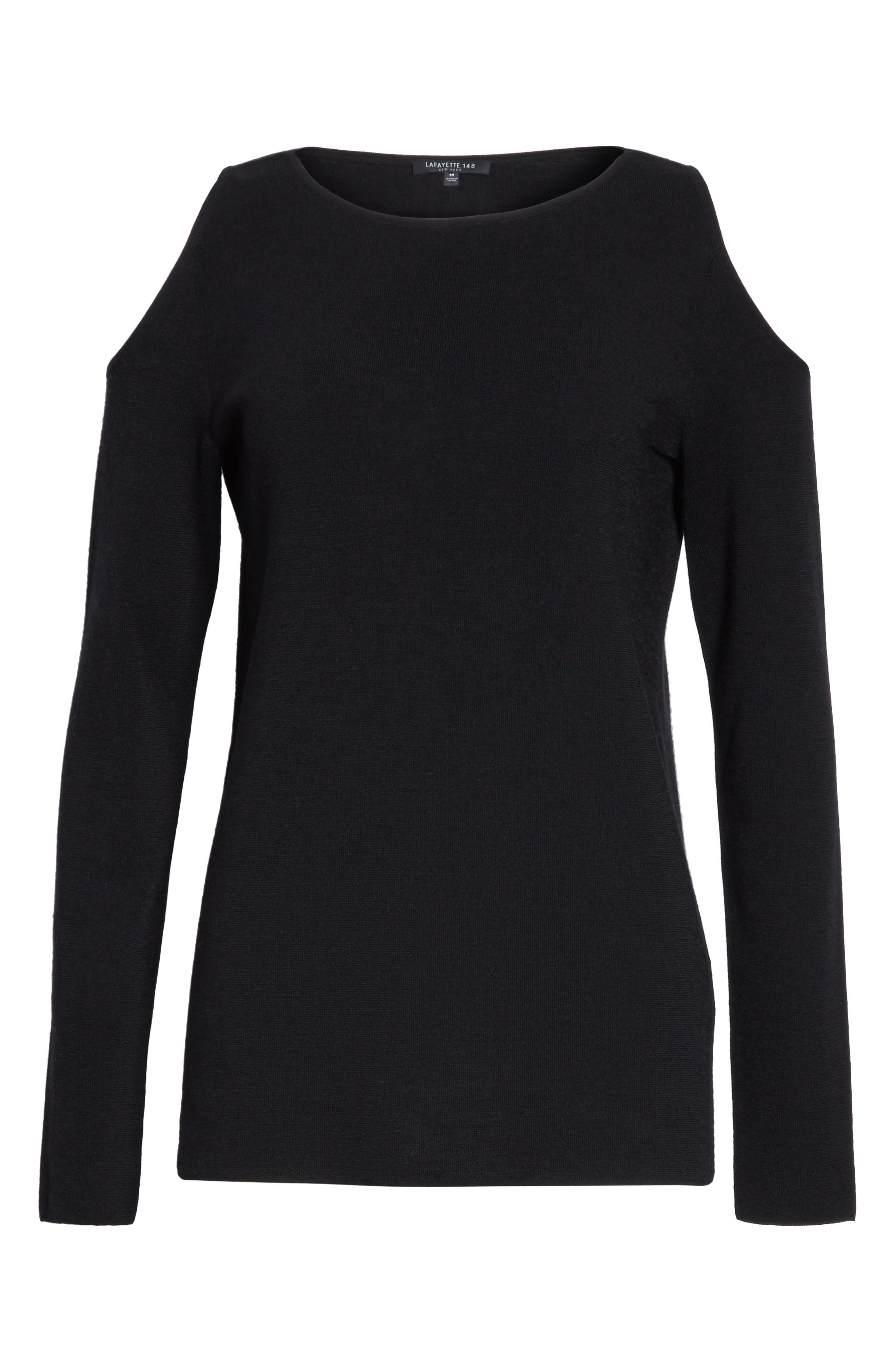Alternate Image 6  - Lafayette 148 New York Wool Cold Shoulder Sweater