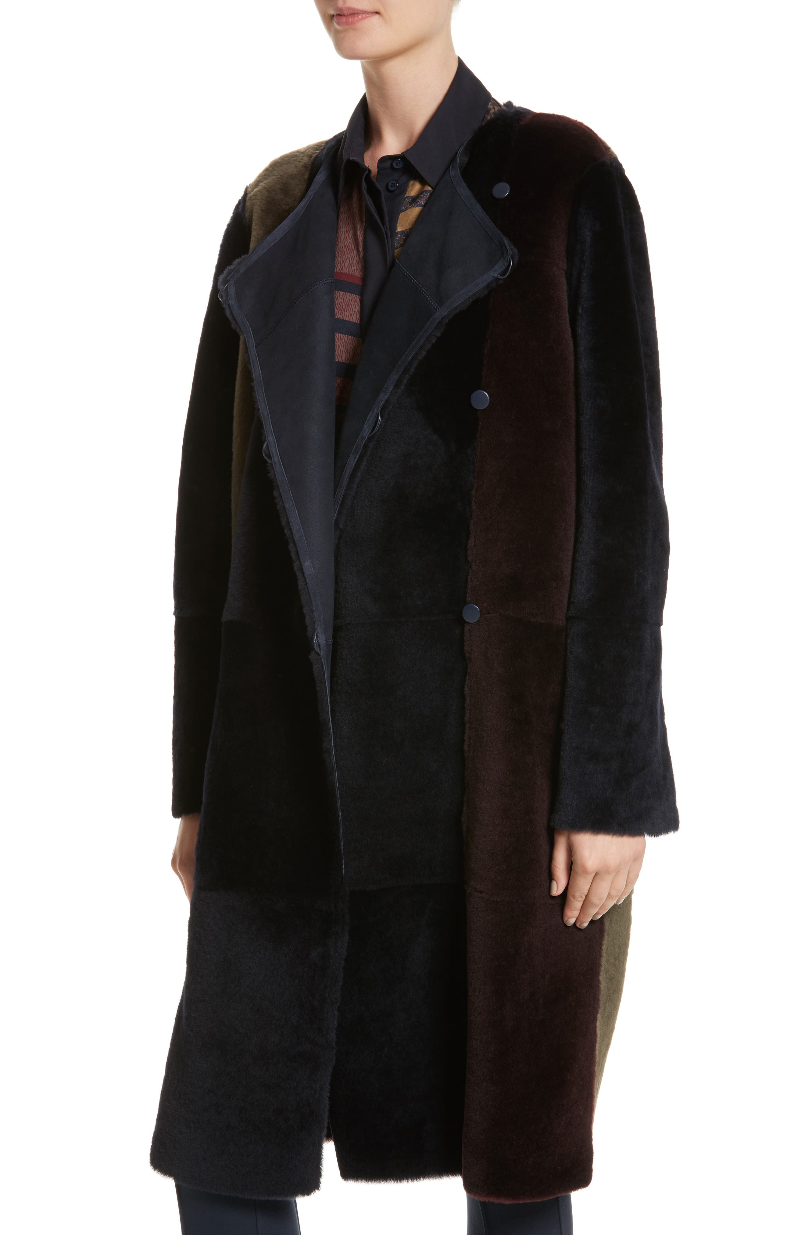 Alternate Image 4  - Lafayette 148 New York Robyn Reversible Genuine Shearling Coat