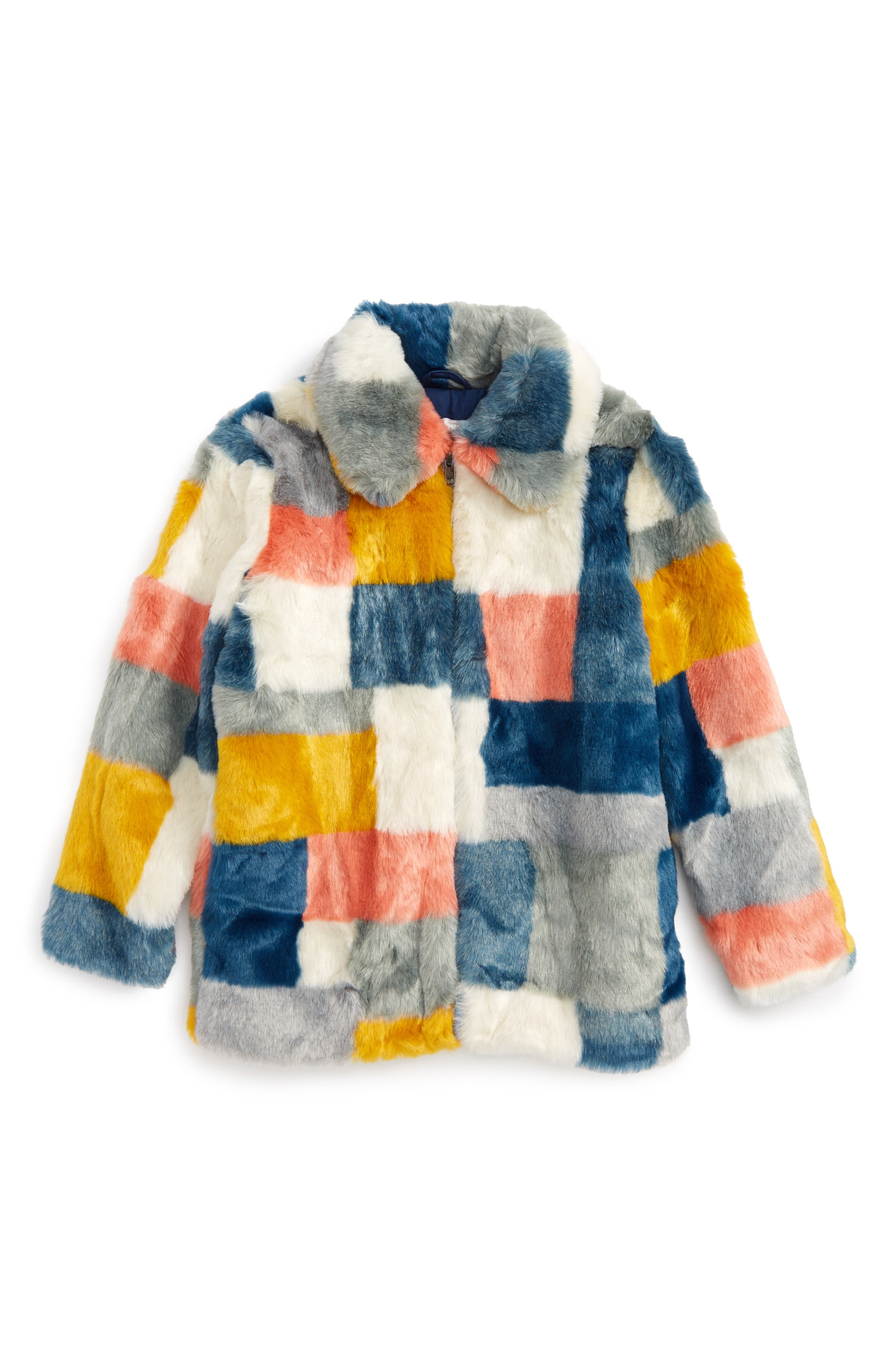 Abbie Faux Fur Colorblock Jacket,                             Main thumbnail 1, color,                             Multicolor