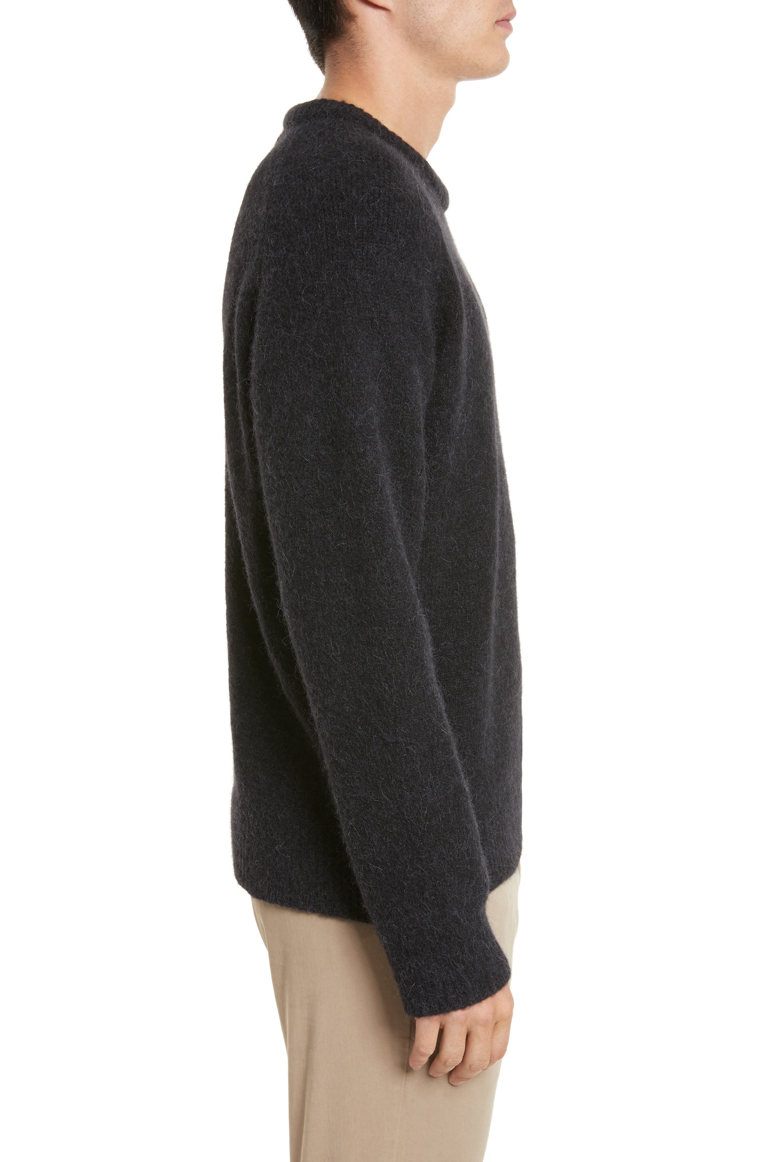 Wool Blend Crewneck Sweater,                             Alternate thumbnail 3, color,                             Black