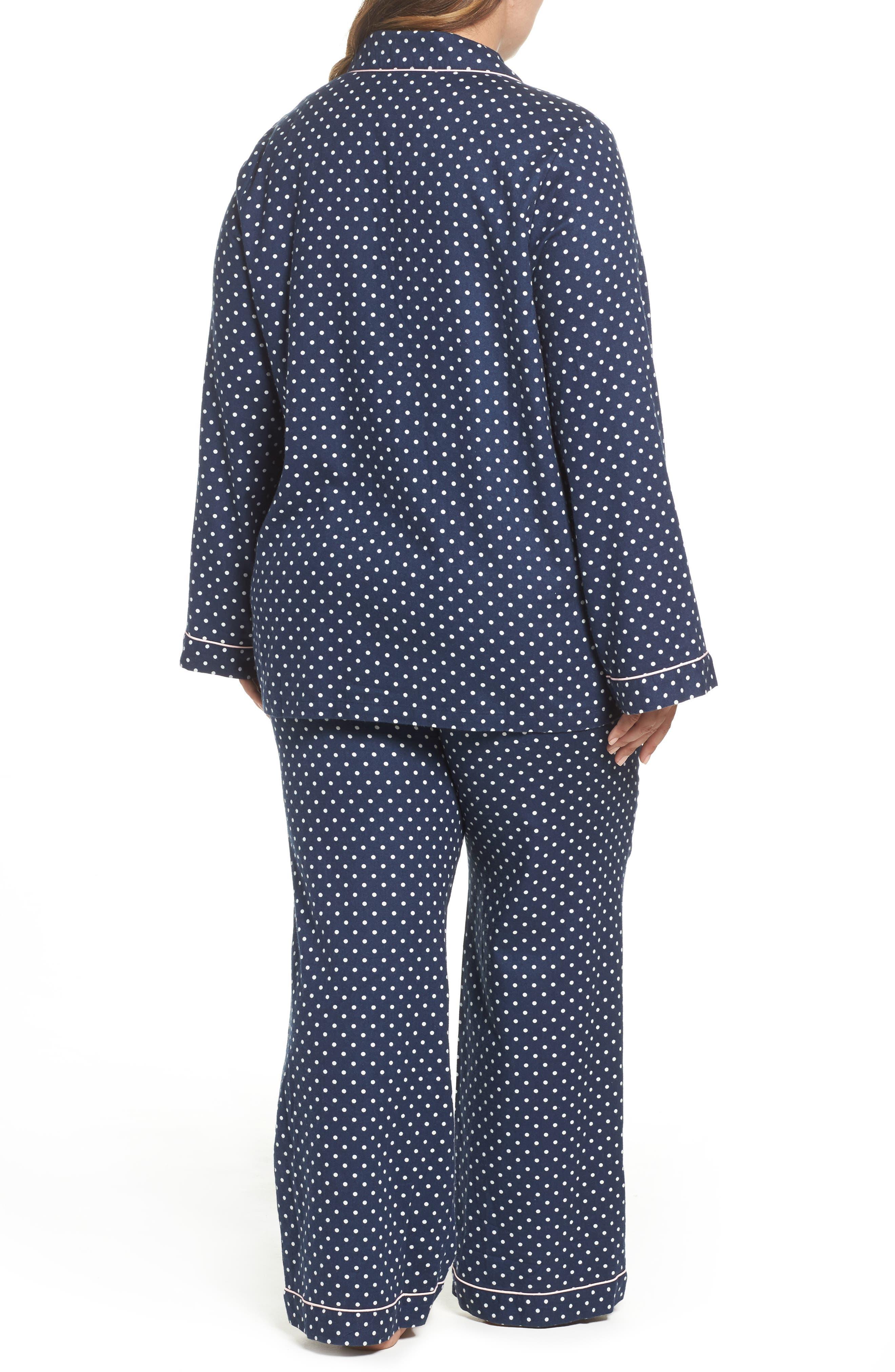 Alternate Image 2  - Nordstrom Lingerie Cotton Twill Pajamas (Plus Size)