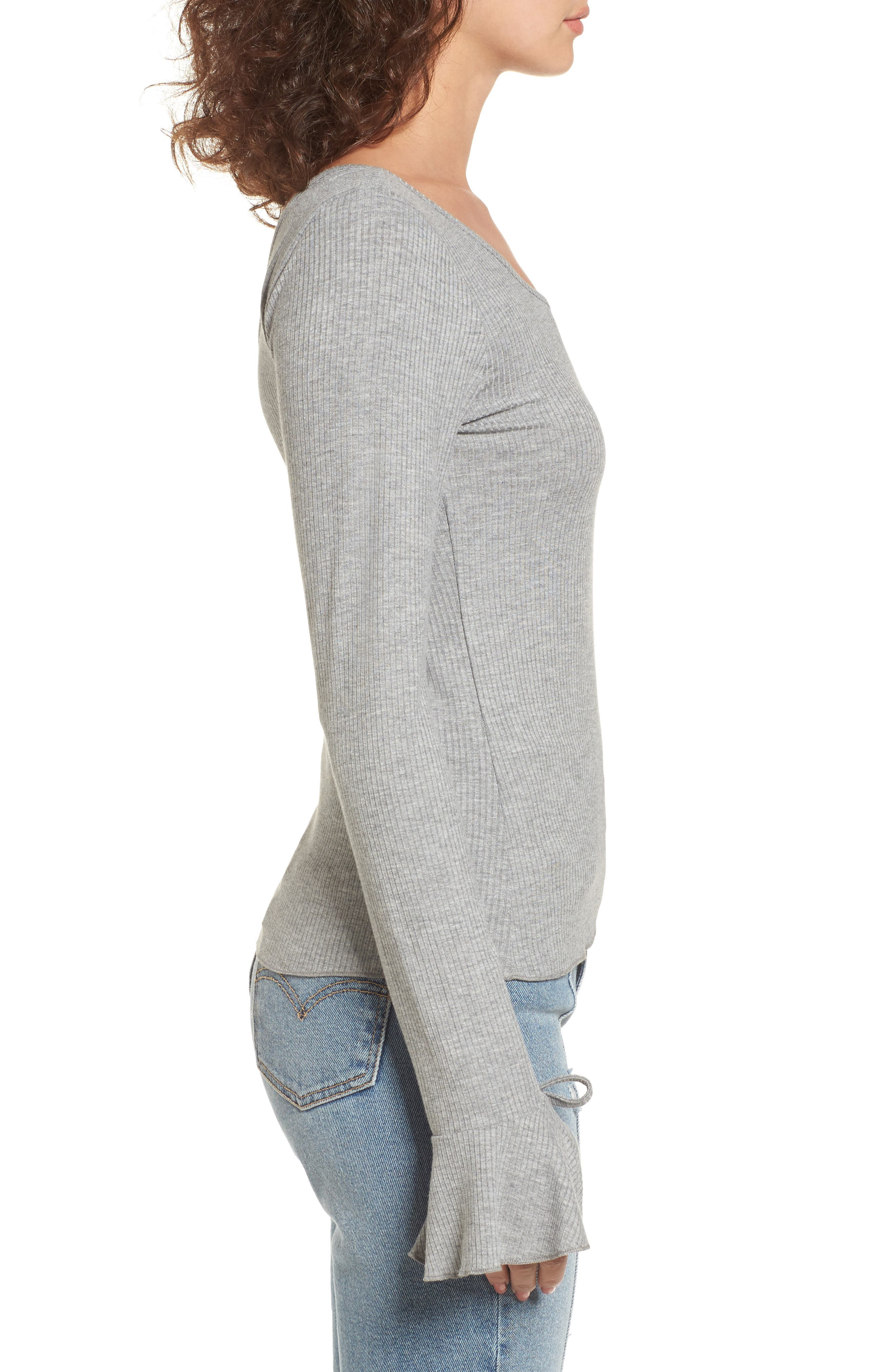 Tie Cuff Knit Top,                             Alternate thumbnail 3, color,                             Heather Grey