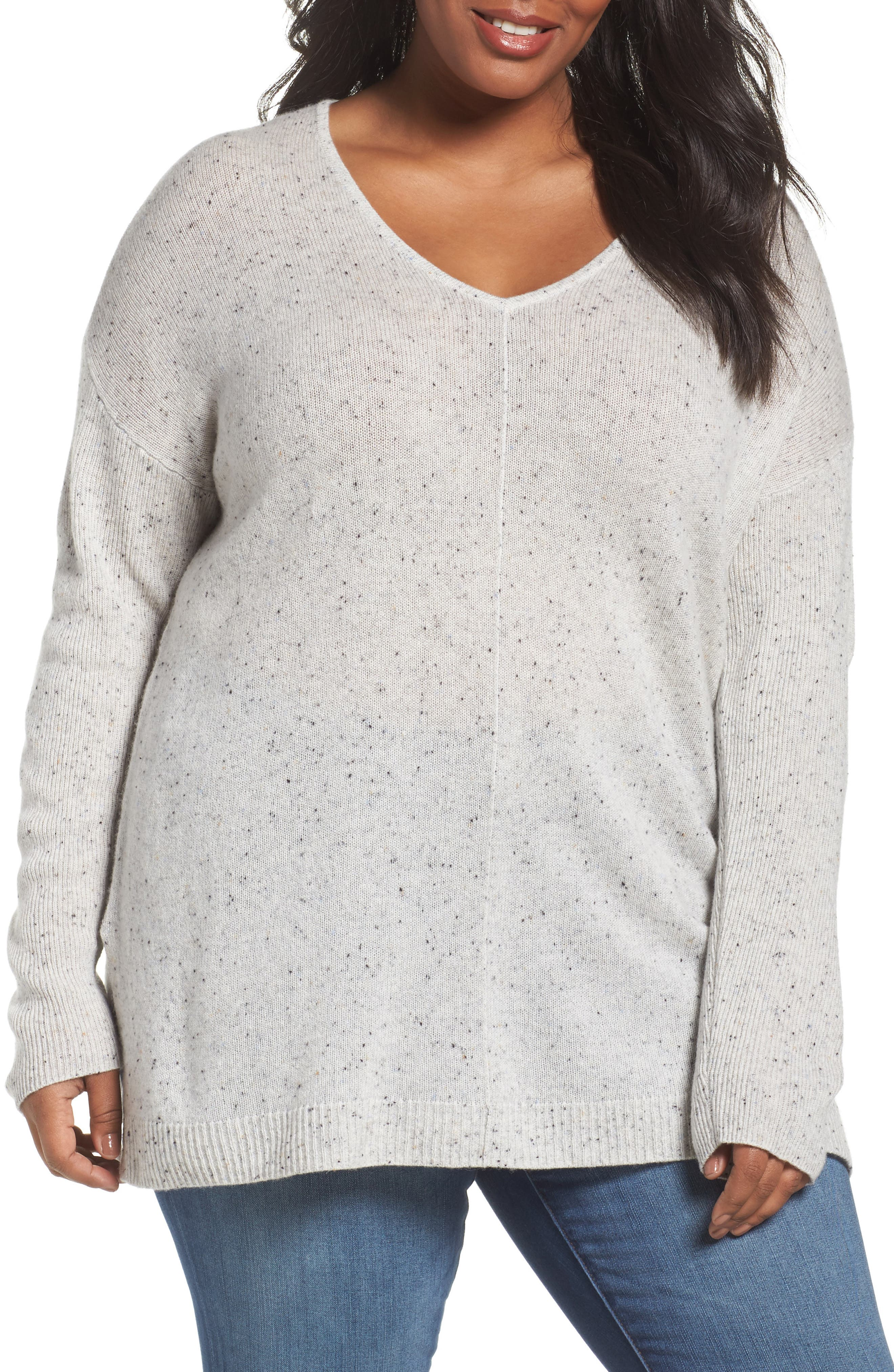 Easy V-Neck Wool & Cashmere Pullover,                             Main thumbnail 1, color,                             Grey Light Heather