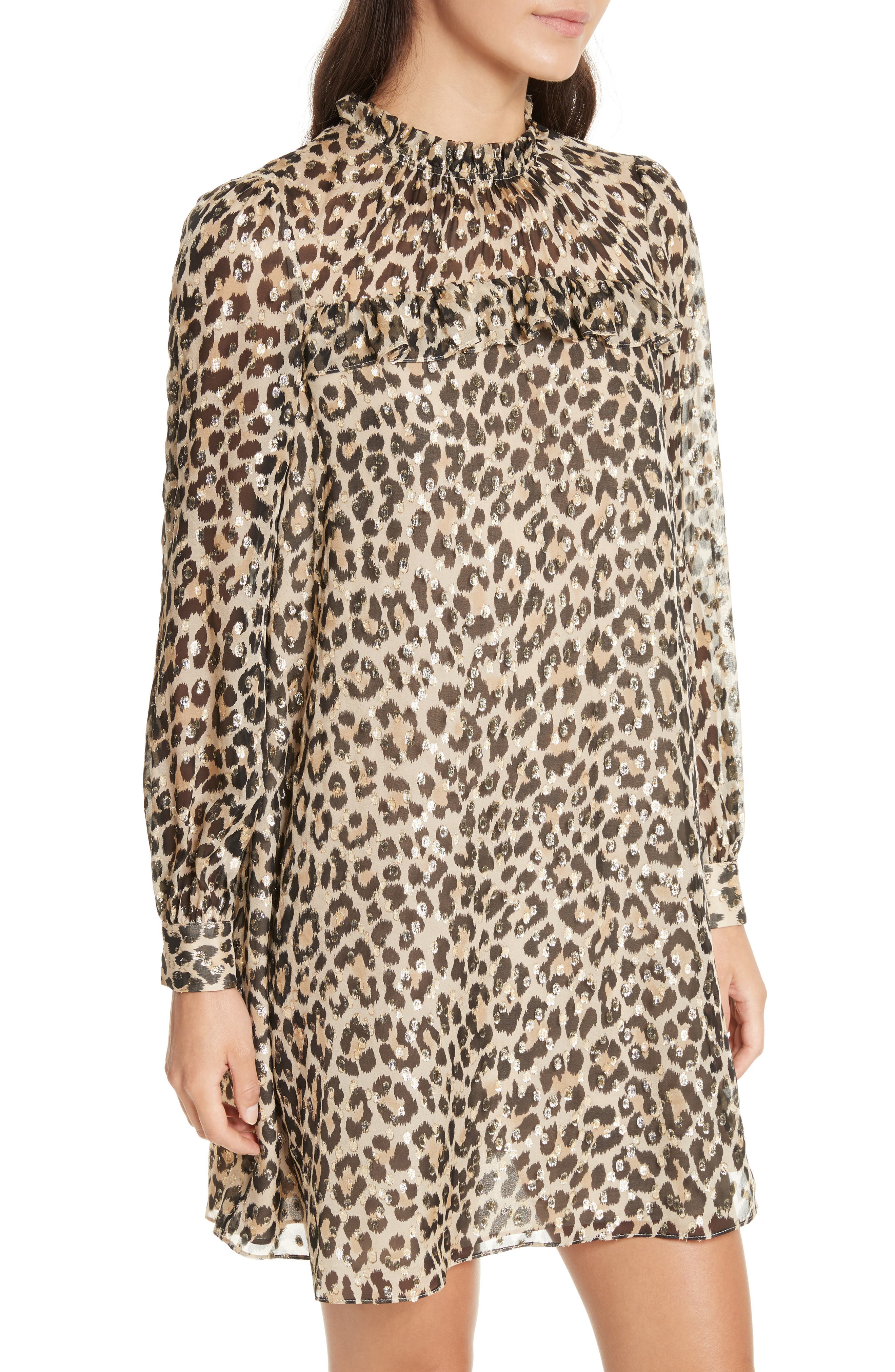 leopard clip dot minidress,                             Alternate thumbnail 4, color,                             Classic Camel