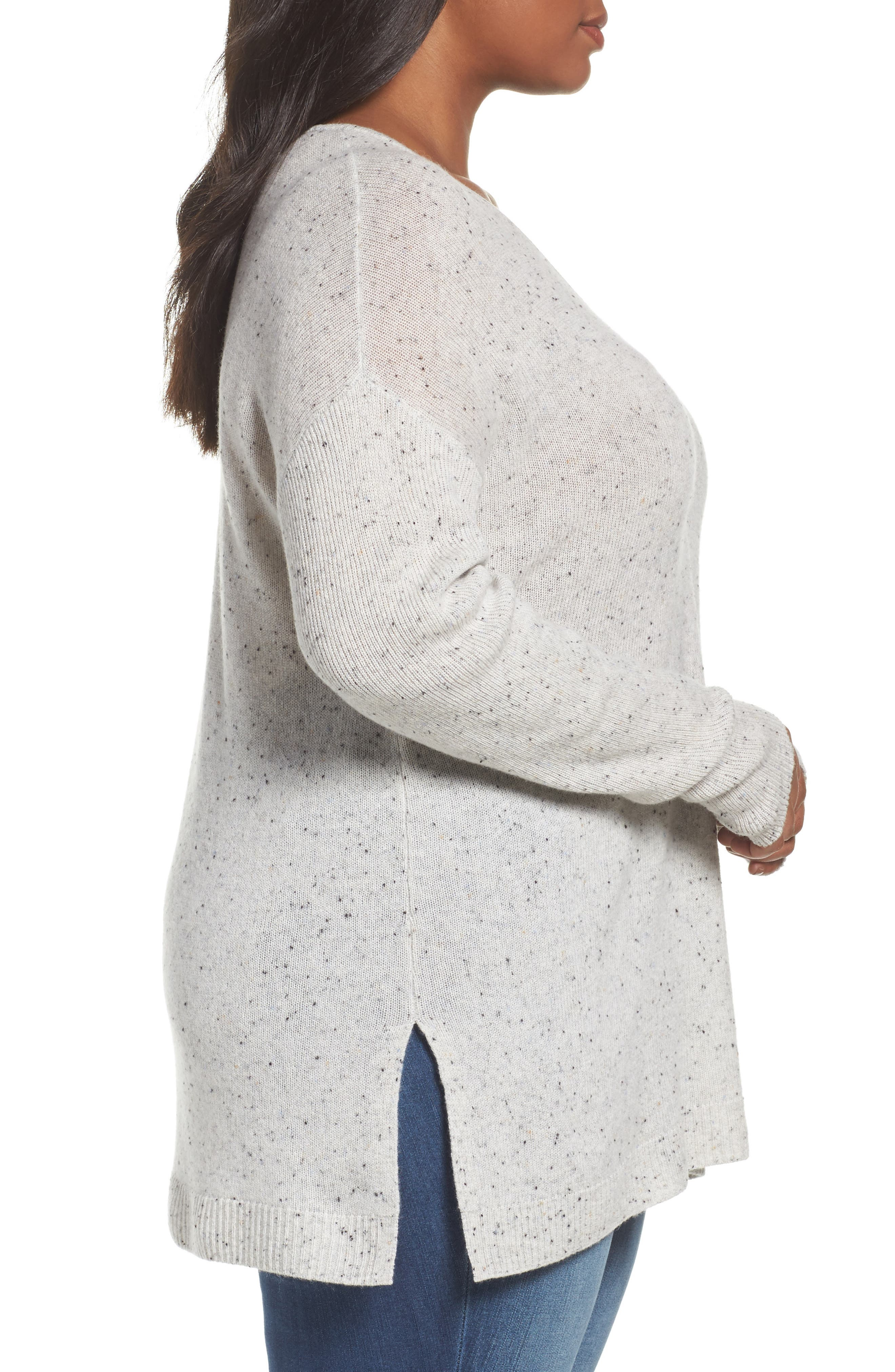 Easy V-Neck Wool & Cashmere Pullover,                             Alternate thumbnail 3, color,                             Grey Light Heather