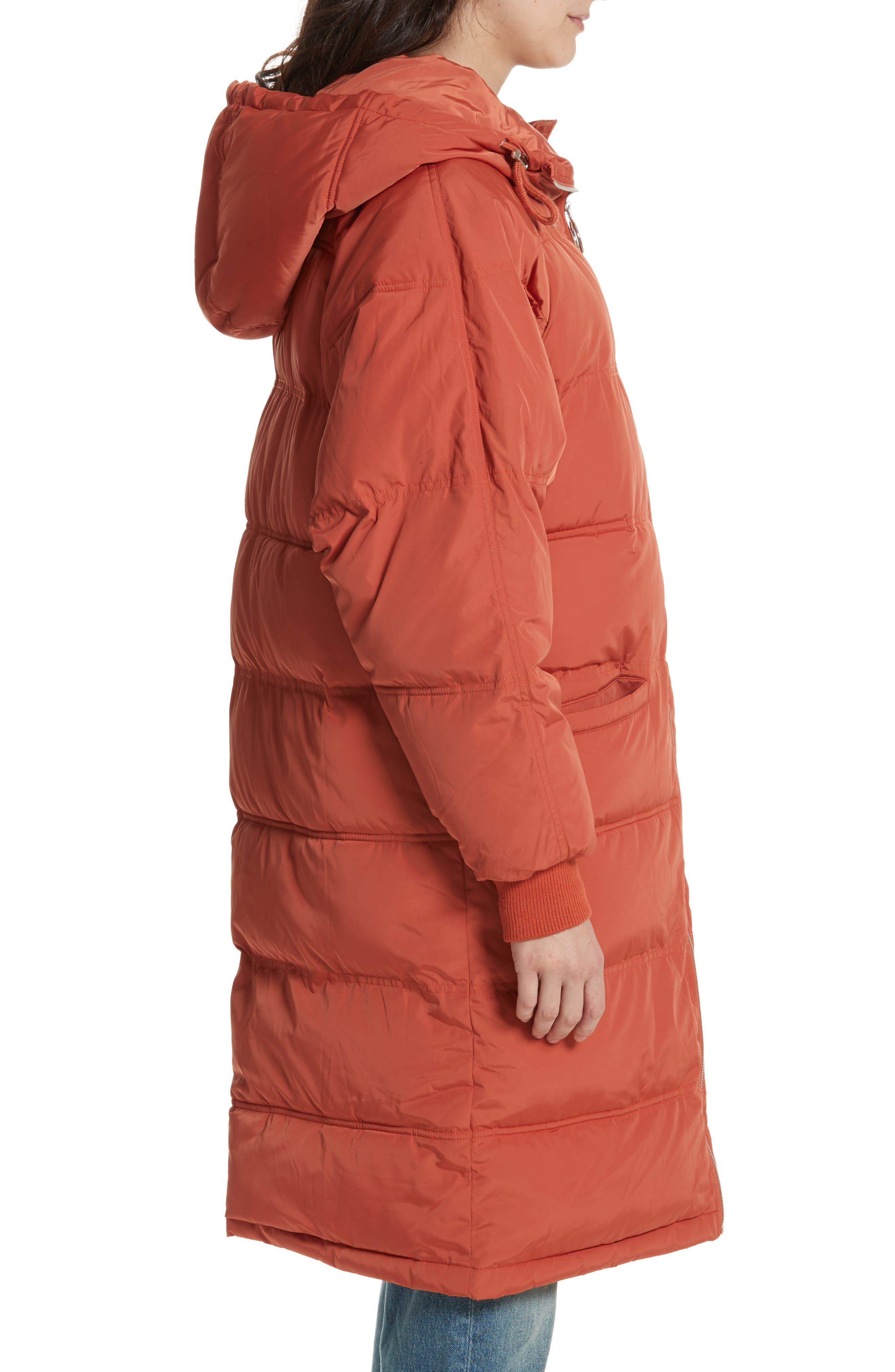 Raglan Long Puffer Coat,                             Alternate thumbnail 3, color,                             Terracotta