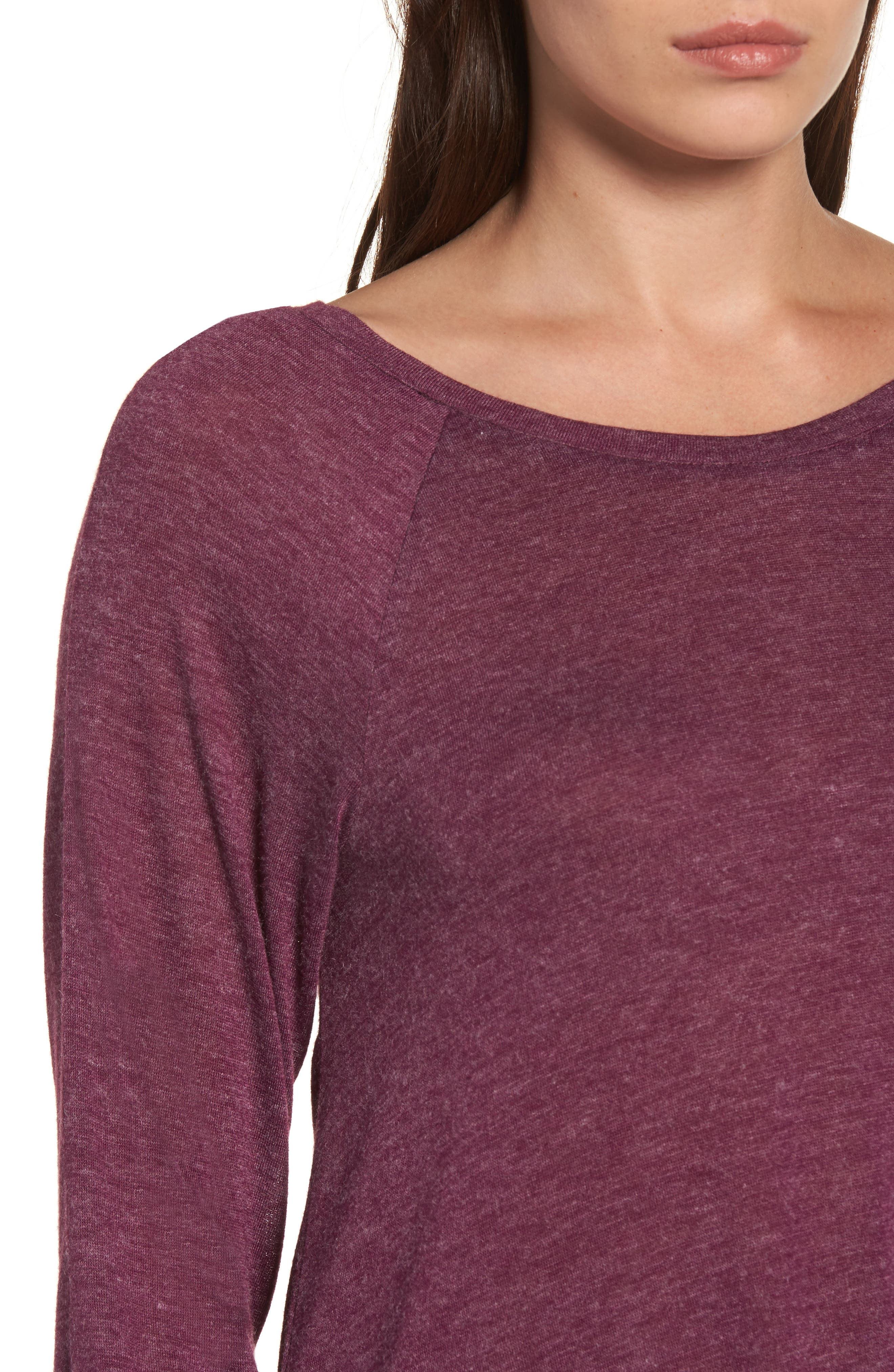 High/Low Tunic Sweatshirt,                             Alternate thumbnail 4, color,                             Mulberry