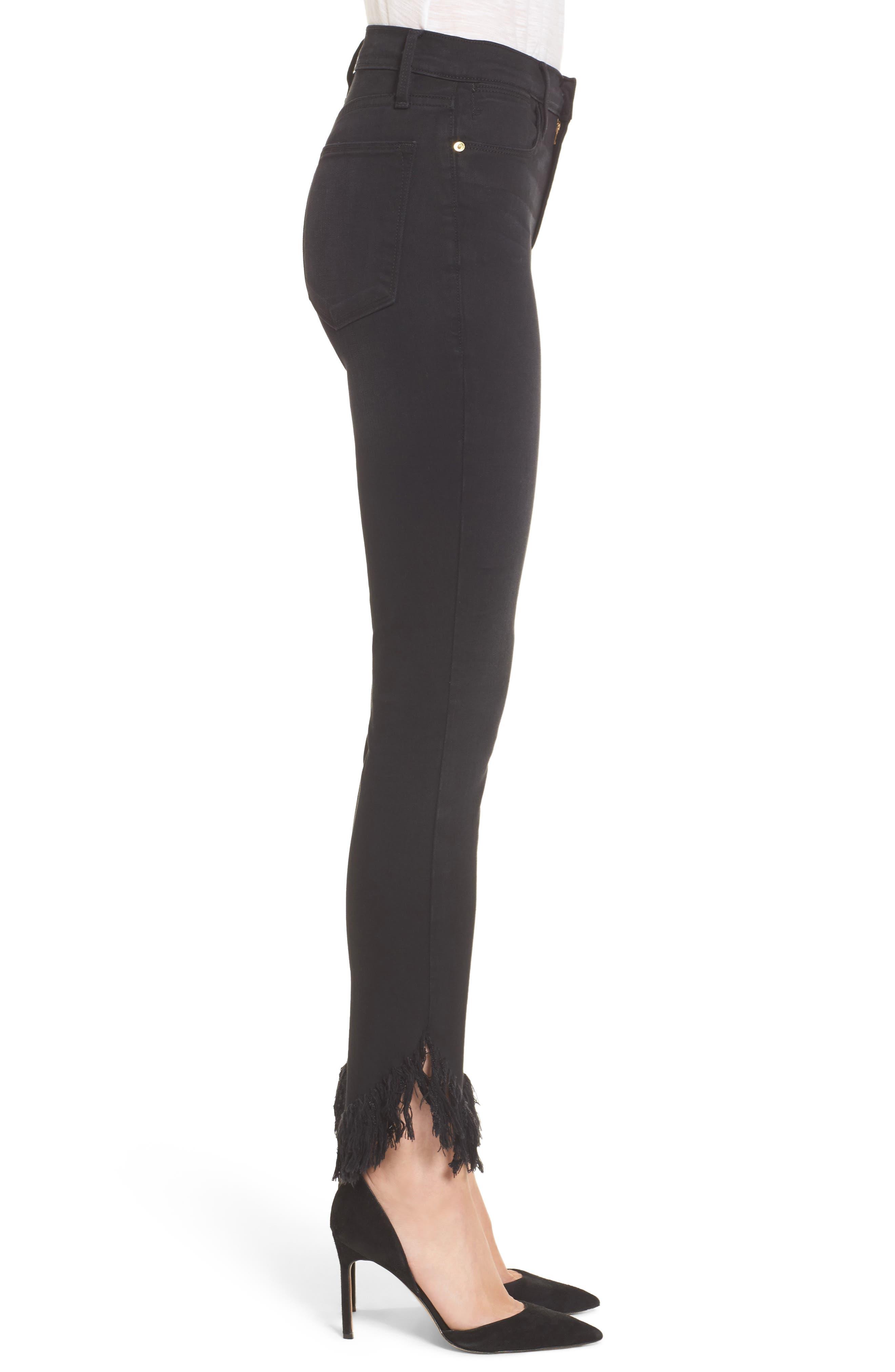 Alternate Image 4  - FRAME Le High Shredded Skinny Jeans (Noir) (Nordstrom Exclusive)