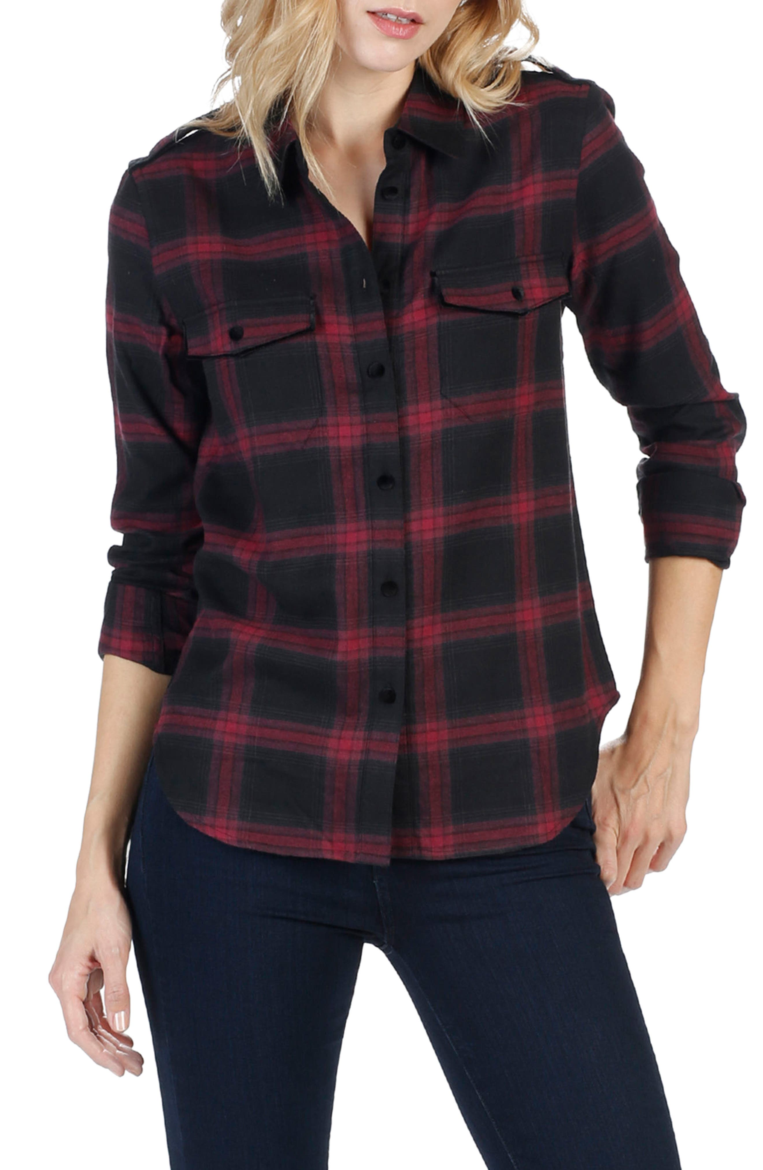 Adilene Plaid Shirt,                         Main,                         color, True Black/ Dark Magenta
