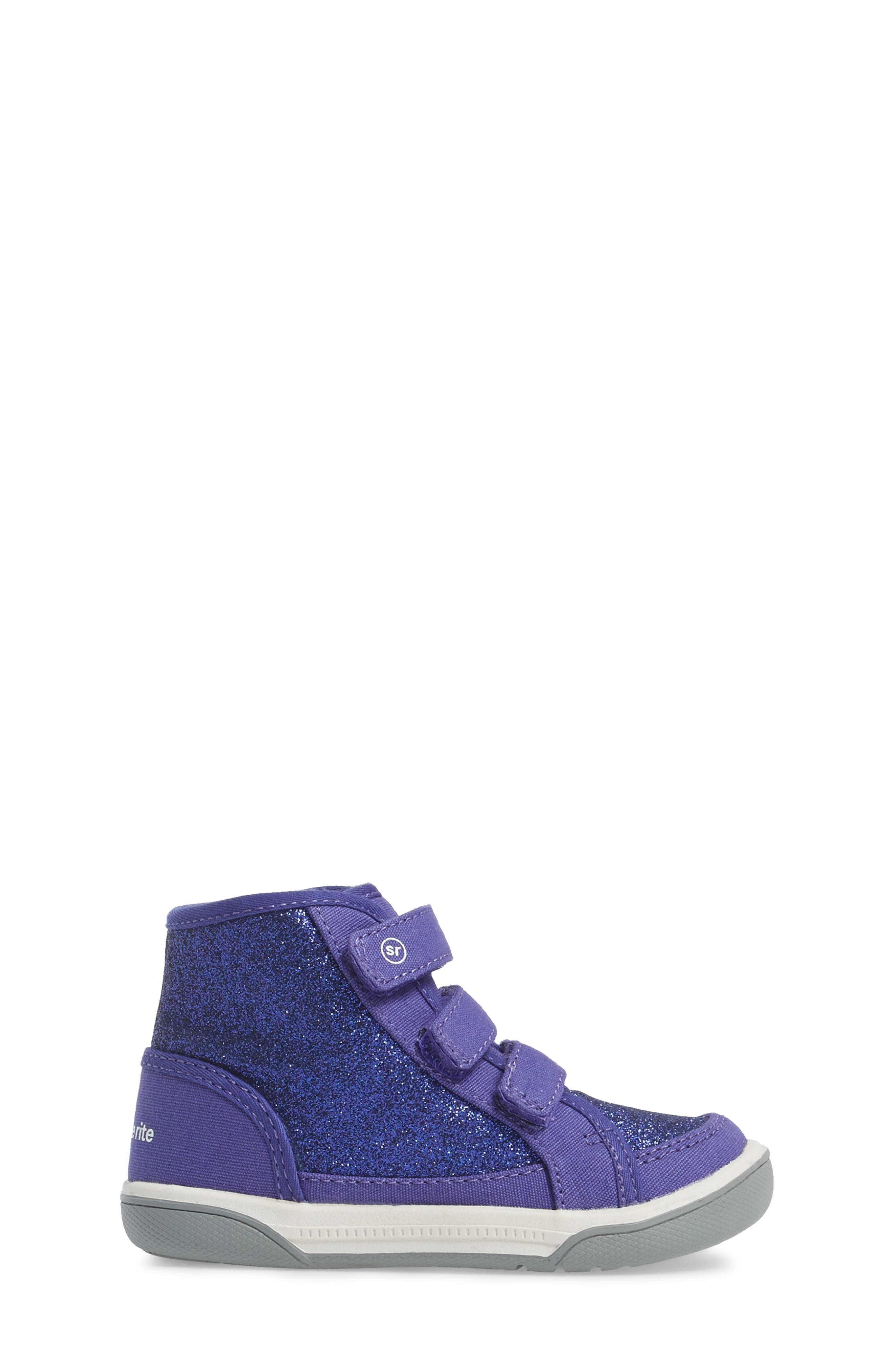 Ellis Glitter High Top Sneaker,                             Alternate thumbnail 3, color,                             Purple